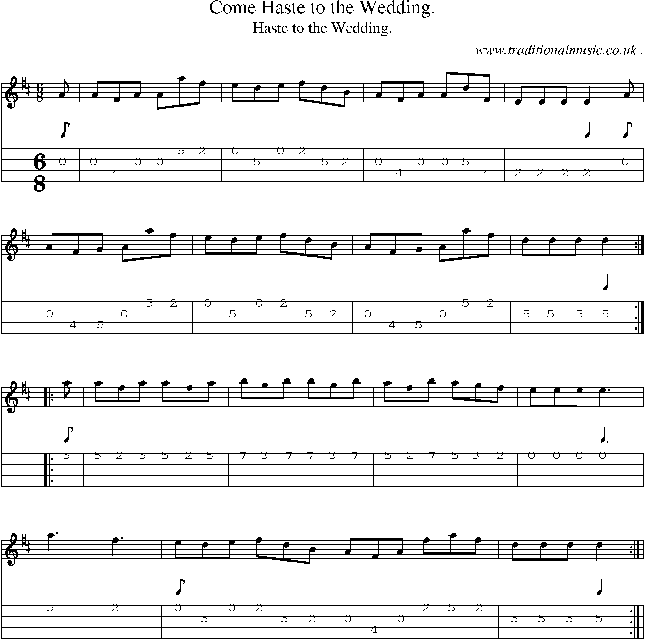 Sheet Music And Mandolin Tabs For Come Haste To The Wedding
