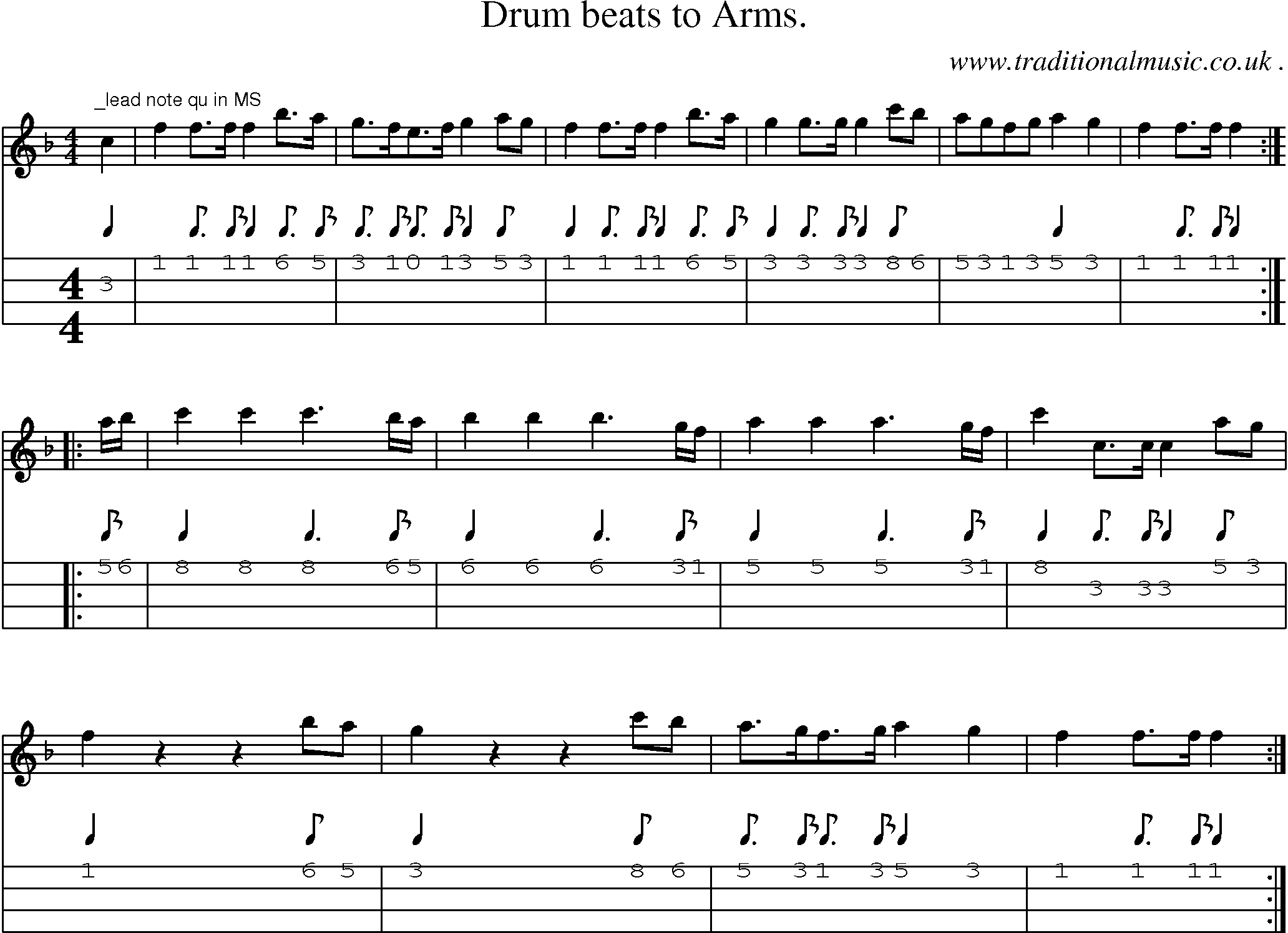 Folk and Traditional Music, Sheet-Music, Mandolin tab, midi, mp3 and PDF for: Drum Beats To Arms
