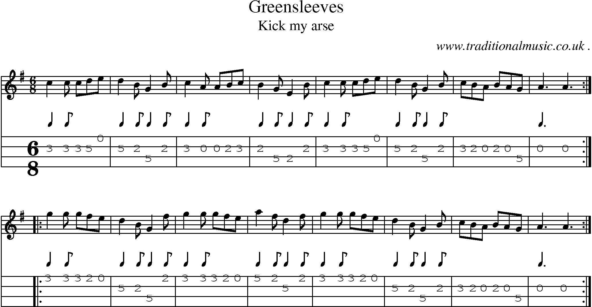 Folk and Traditional Music, Sheet-Music, Mandolin tab, midi, mp3 and PDF for: Greensleeves