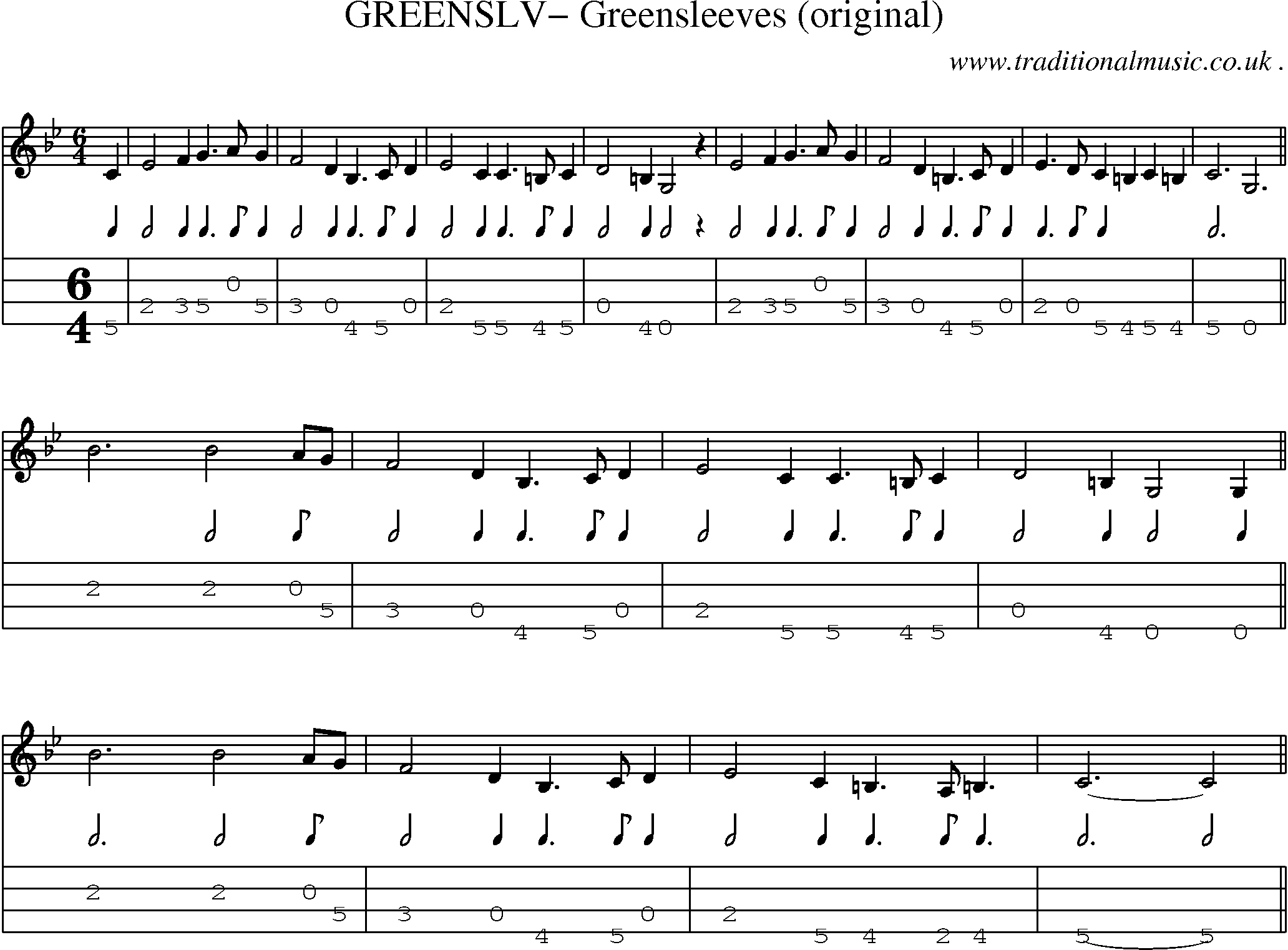 Folk and Traditional Music, Sheet-Music, Mandolin tab, midi, mp3 and PDF for: Greenslv ...