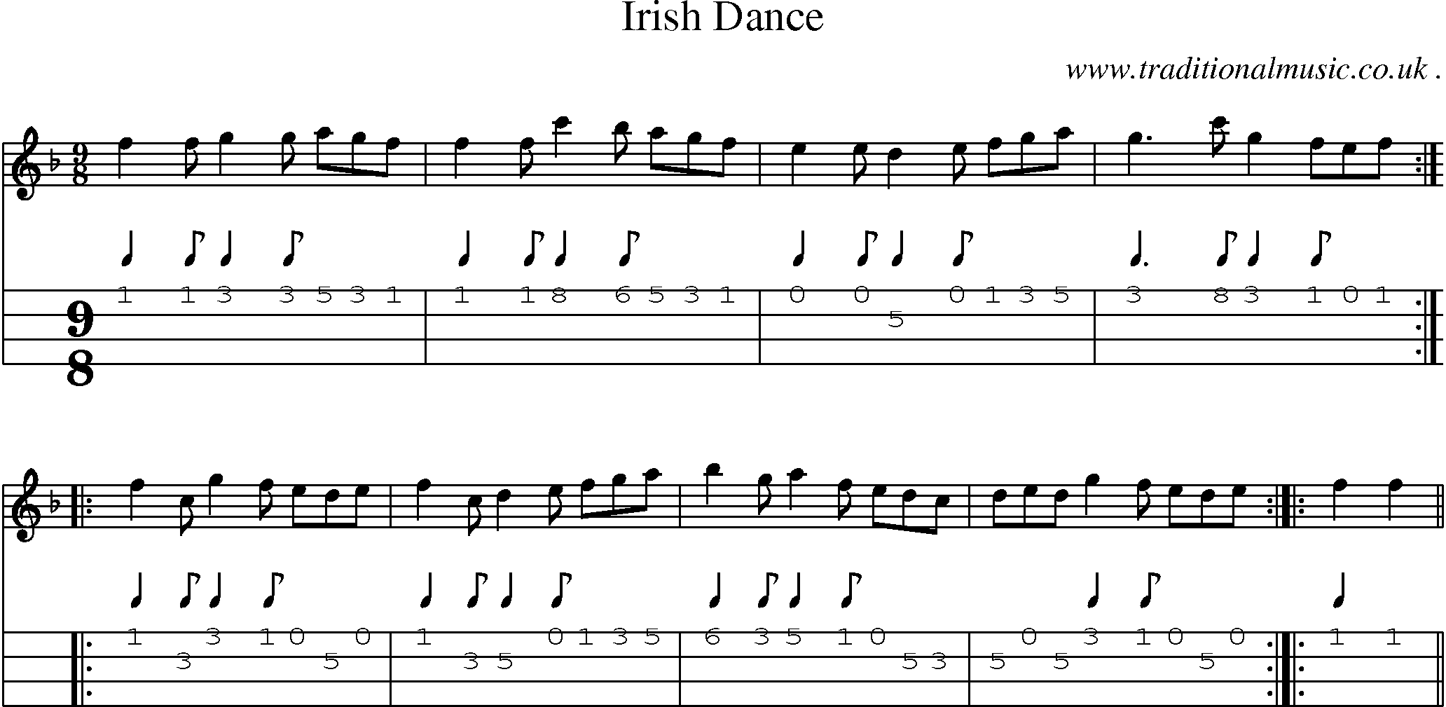 Folk and Traditional Music, Sheet-Music, Mandolin tab, midi, mp3 and PDF for: Irish Dance