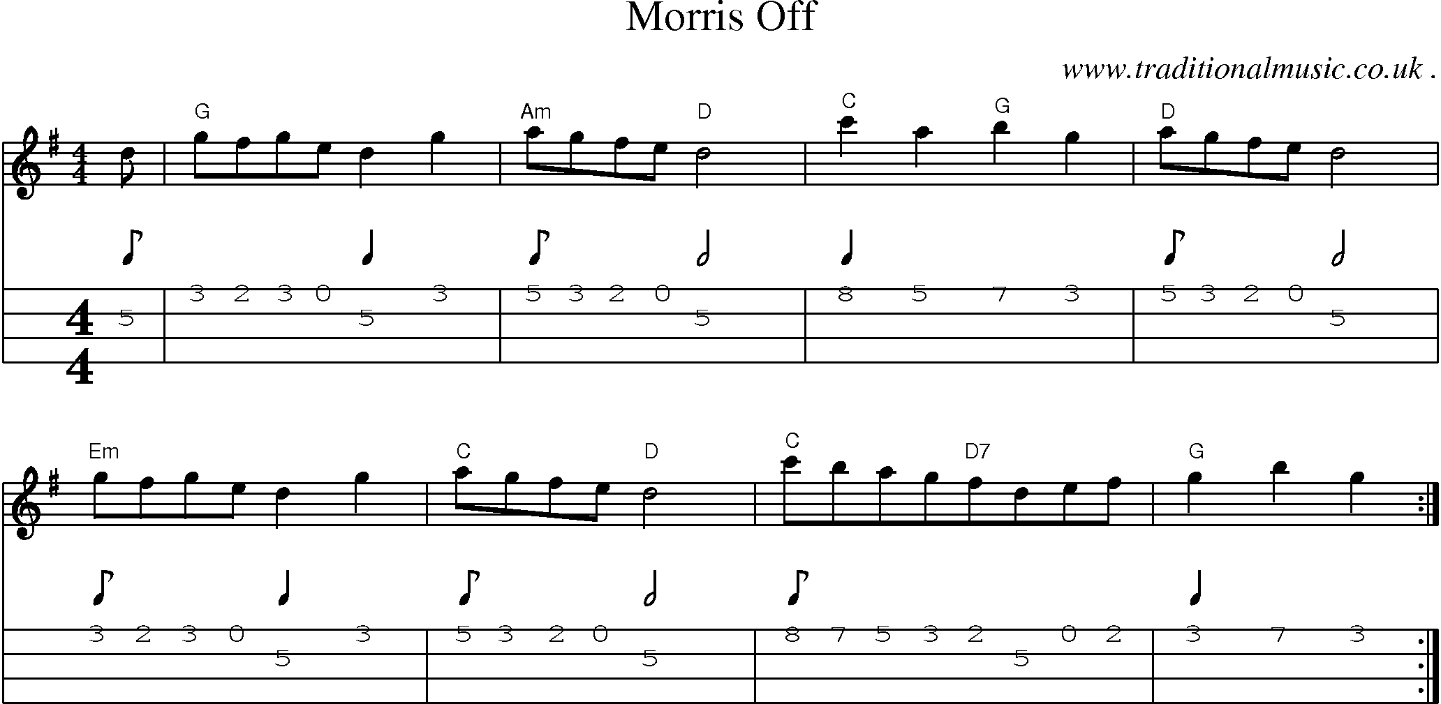 Folk and Traditional Music, Sheet-Music, Mandolin tab, midi, mp3 and PDF for: Morris Off