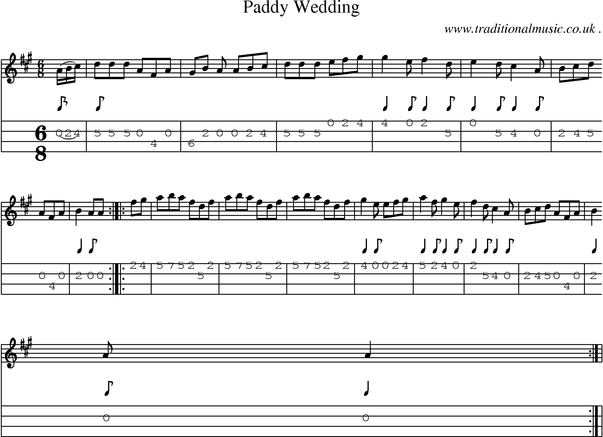 Sheet Music And Mandolin Tabs For Paddy Wedding