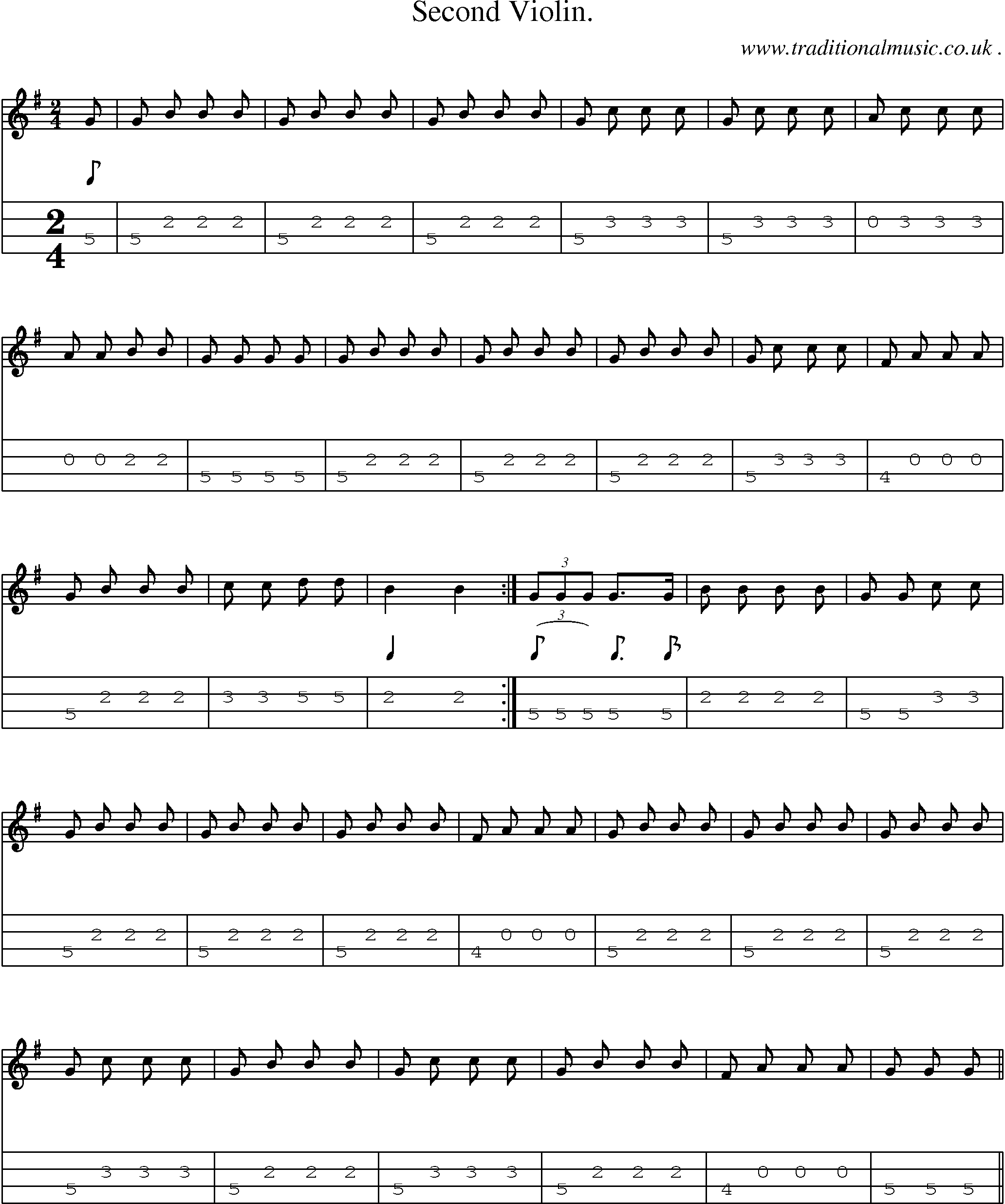 Folk and Traditional Music, Sheet-Music, Mandolin tab, midi, mp3 and PDF for: Second Violin