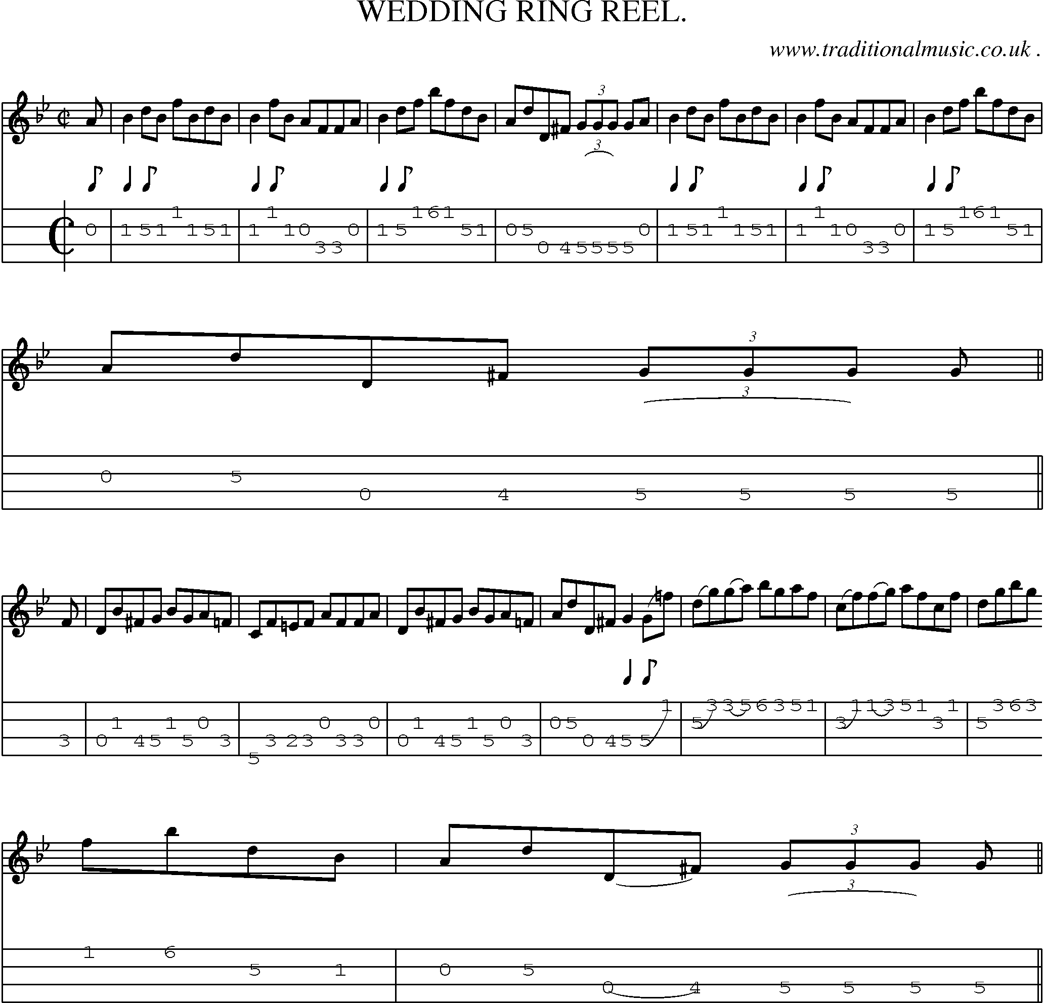 Sheet Music And Mandolin Tabs For Wedding Ring Reel