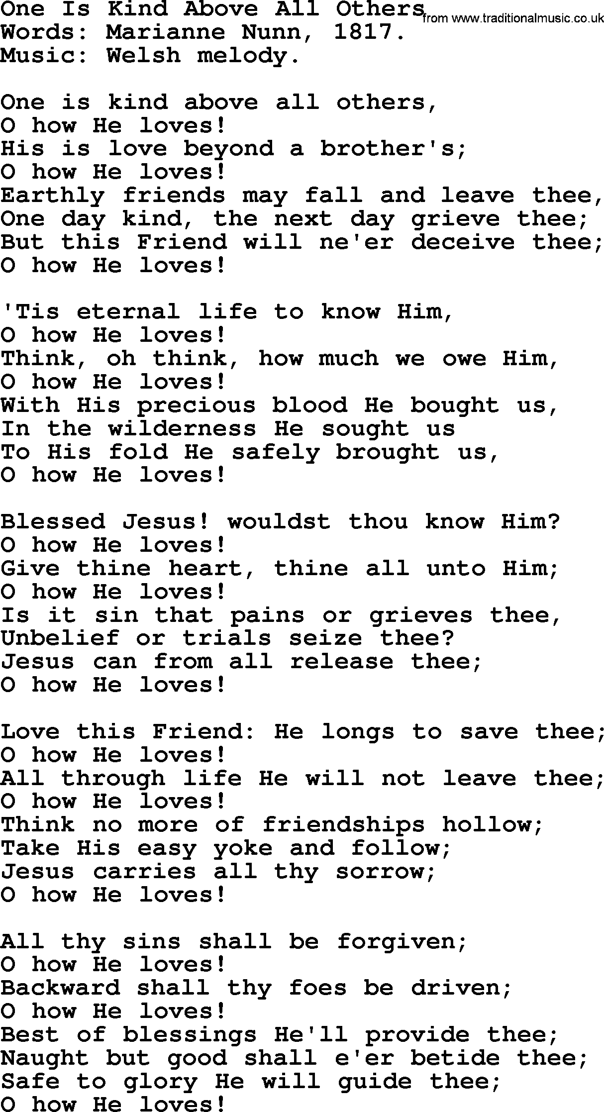 Hymns about God's Forgiveness, title: One Is Kind Above All Others