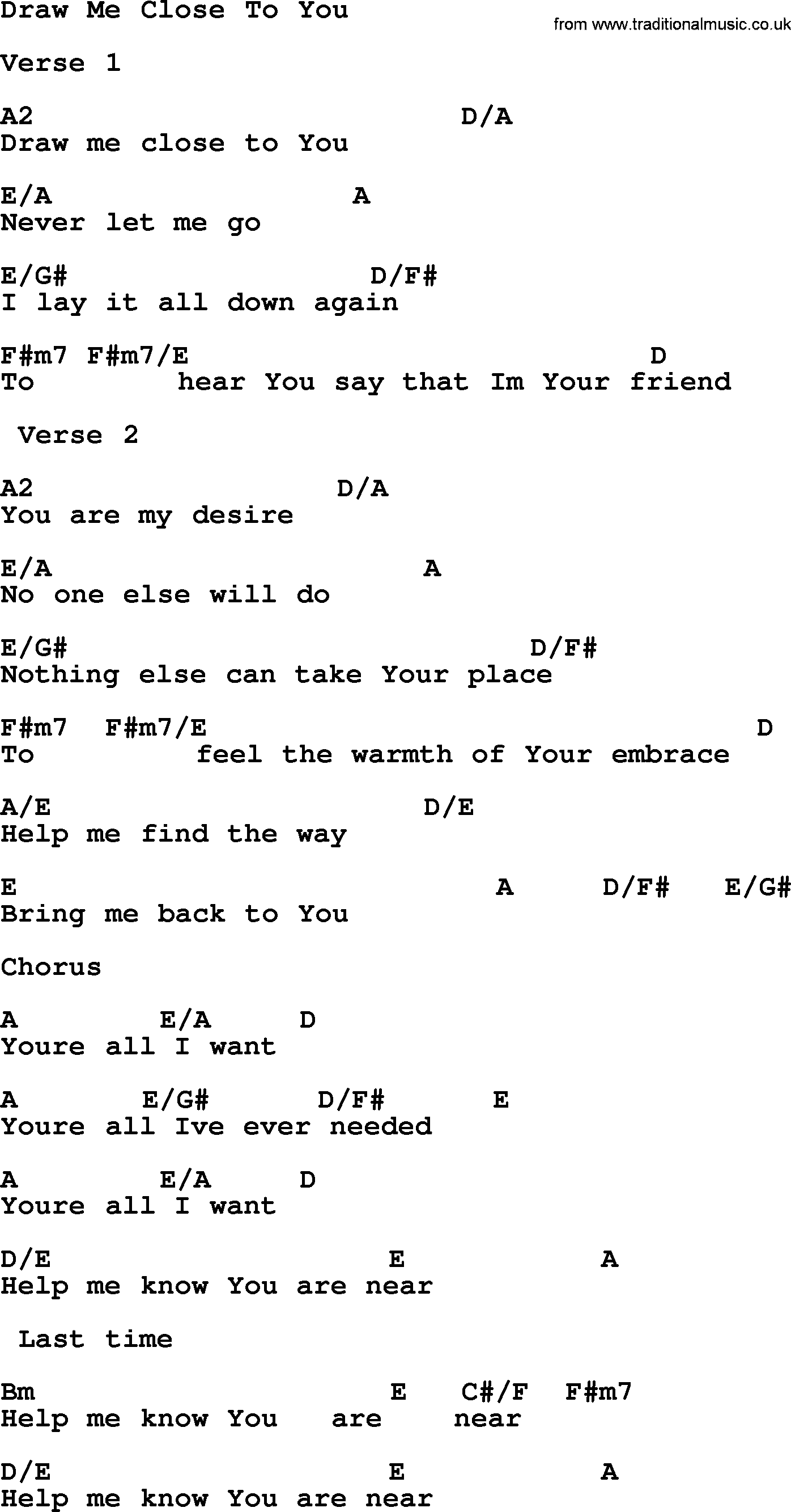 Funeral Hymn Draw Me Close To You Crd Lyrics And Pdf