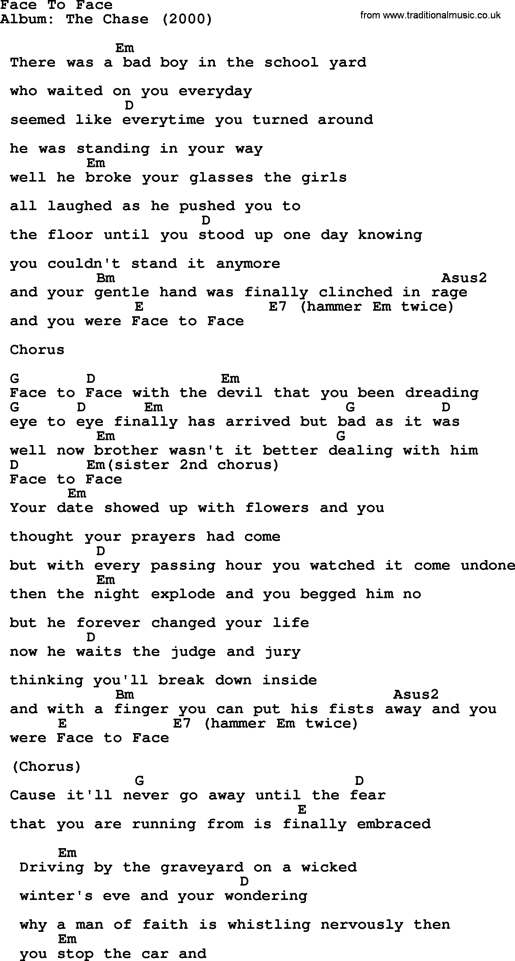 Face To Face By Garth Brooks Lyrics And Chords