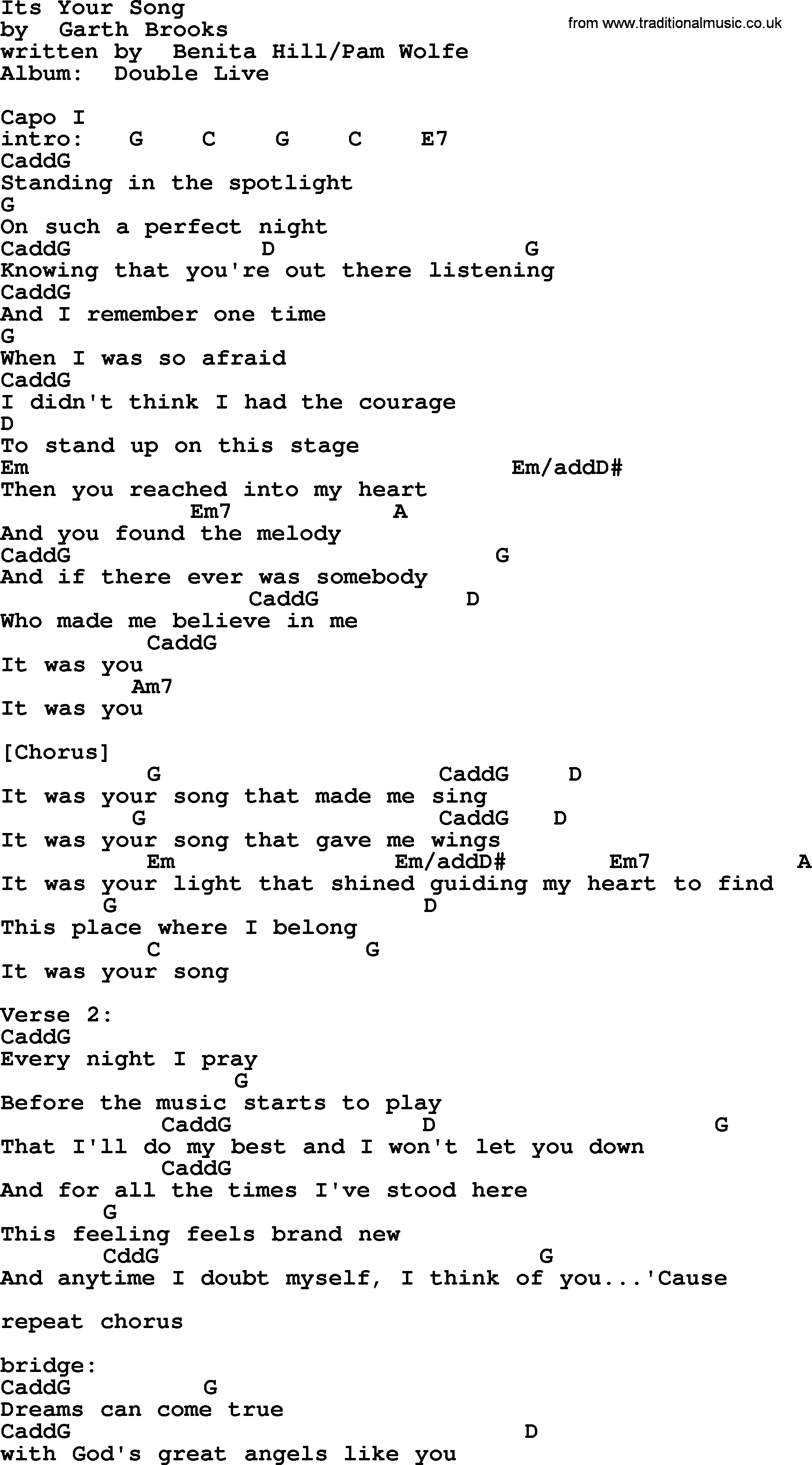 Its Your Song, by Garth Brooks - lyrics and chords