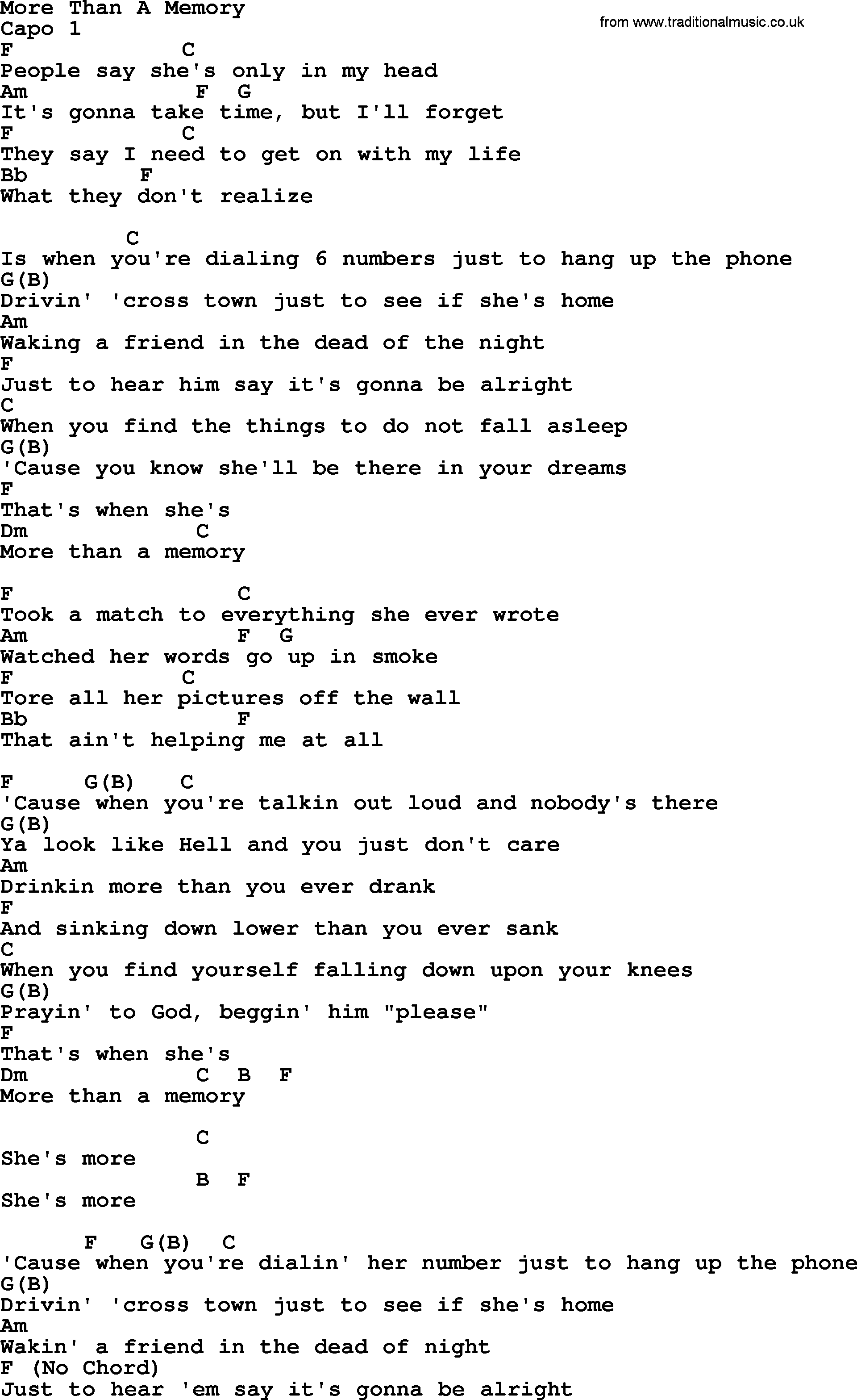 More Than A Memory By Garth Brooks Lyrics And Chords
