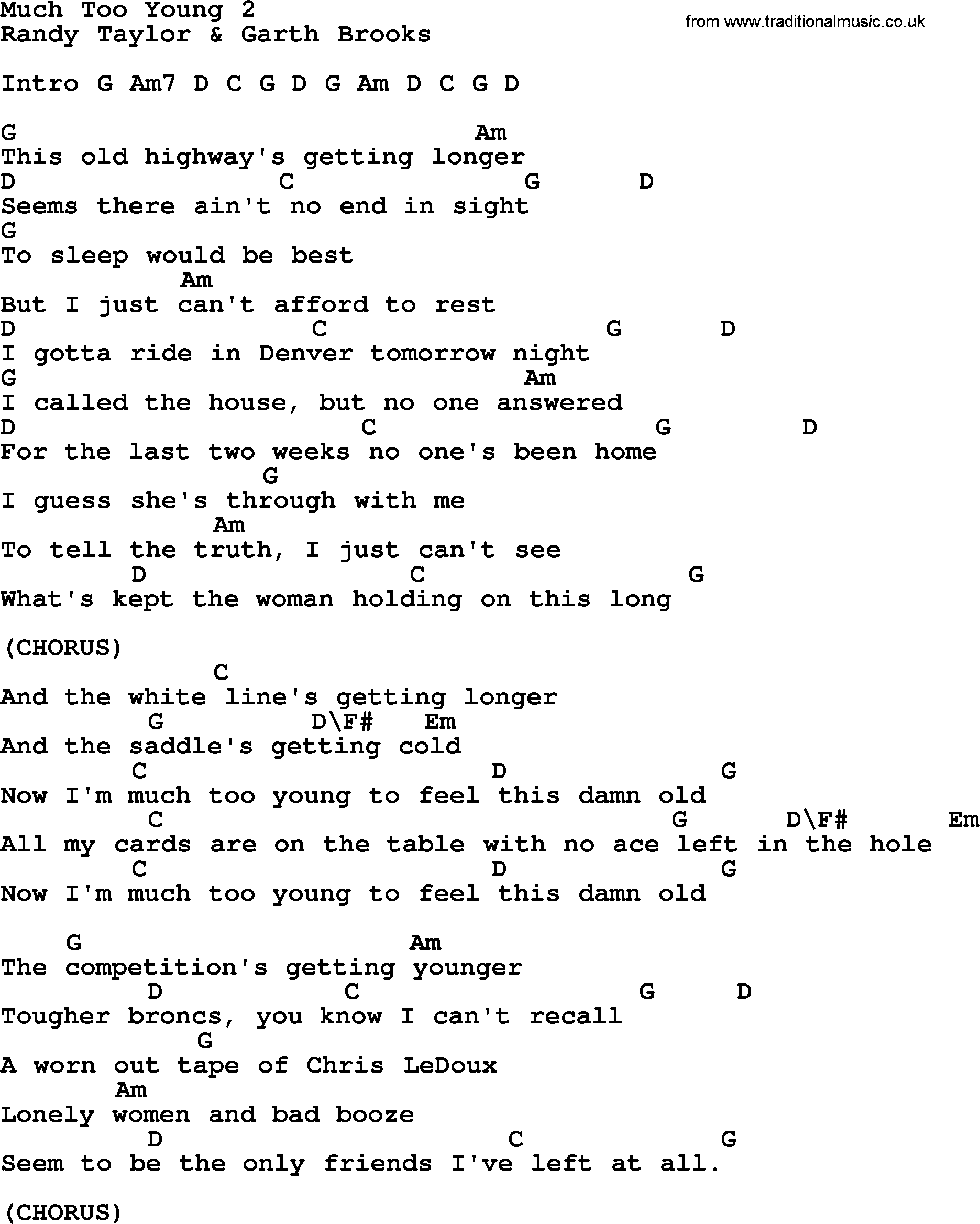 Much Too Young 15, by Garth Brooks   lyrics and chords