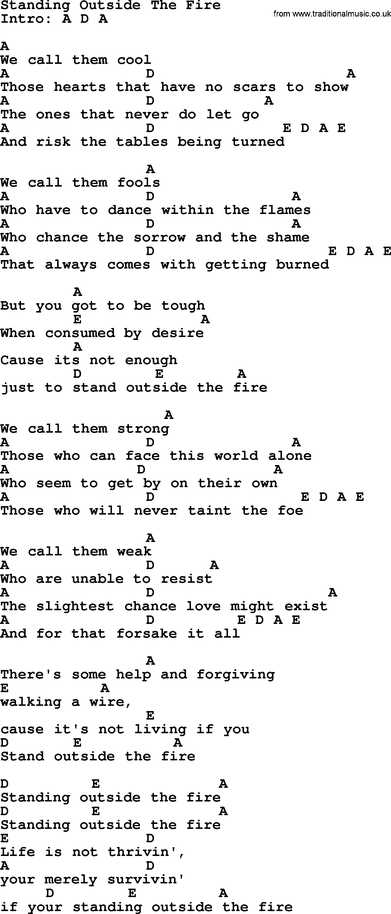 Standing outside the fire by garth brooks lyrics and chords garth brooks song standing outside the fire lyrics and chords hexwebz Gallery