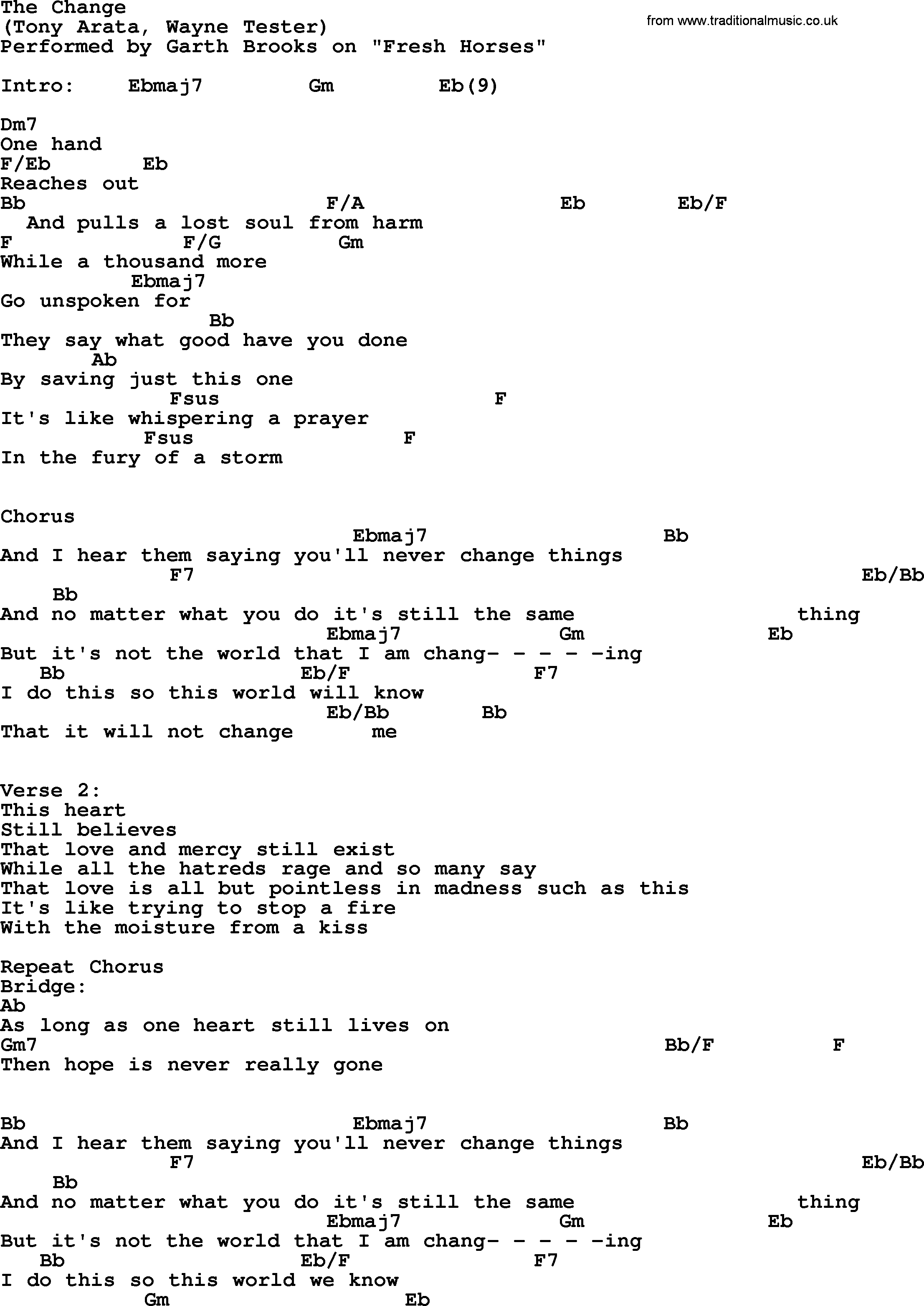 The Change By Garth Brooks Lyrics And Chords