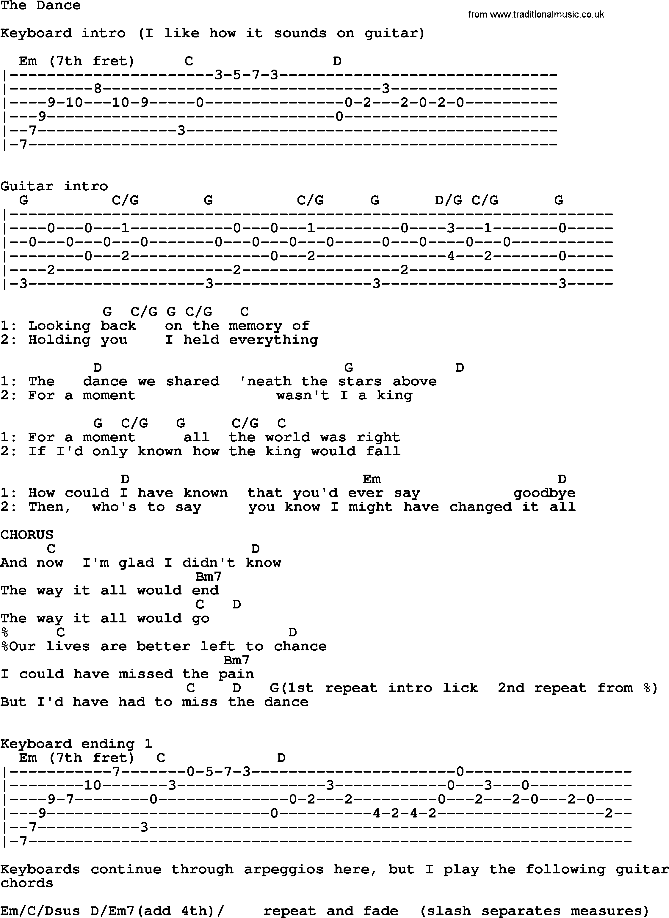 The Dance By Garth Brooks Lyrics And Chords