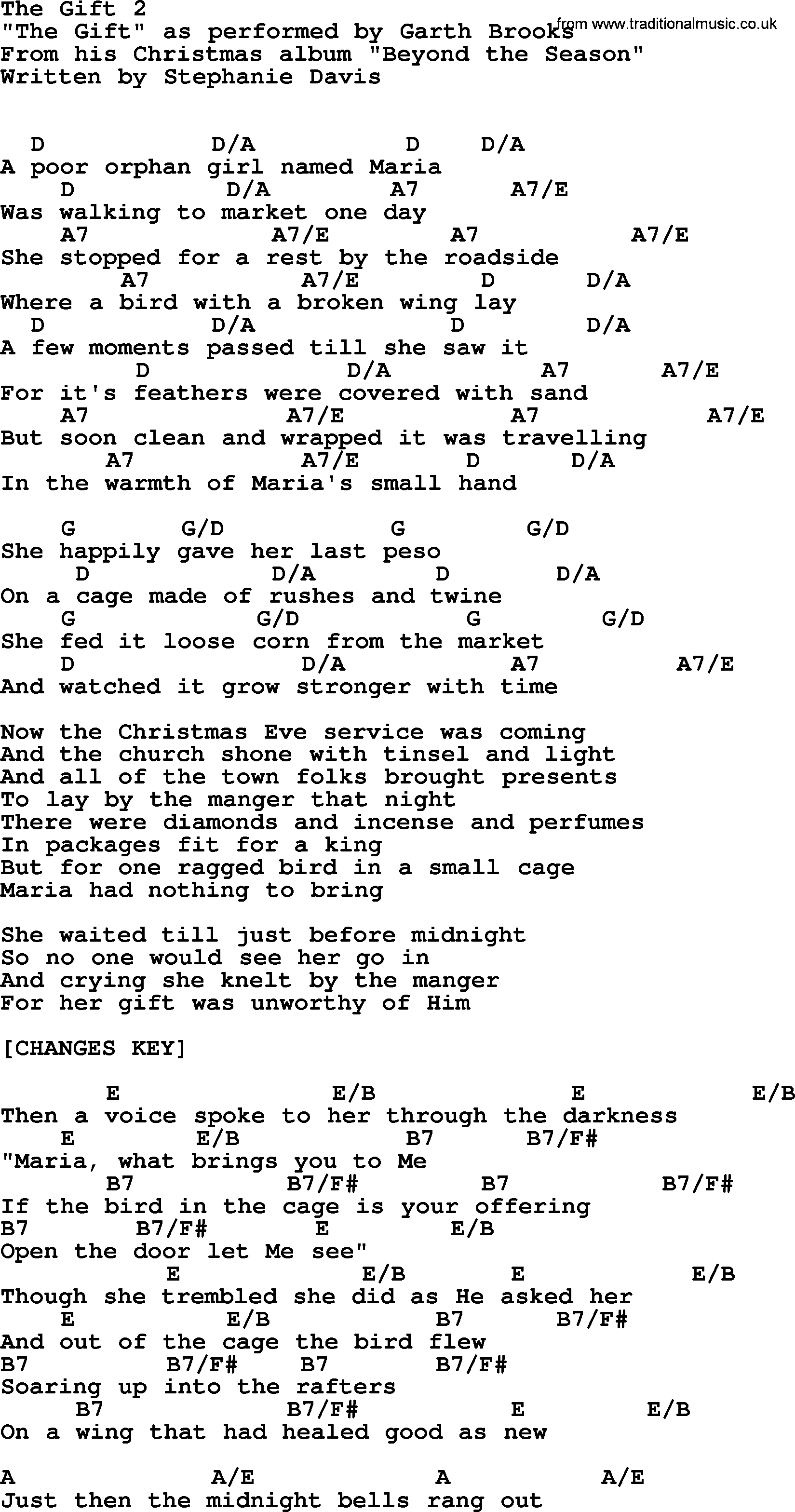 The Gift 2, by Garth Brooks - lyrics and chords