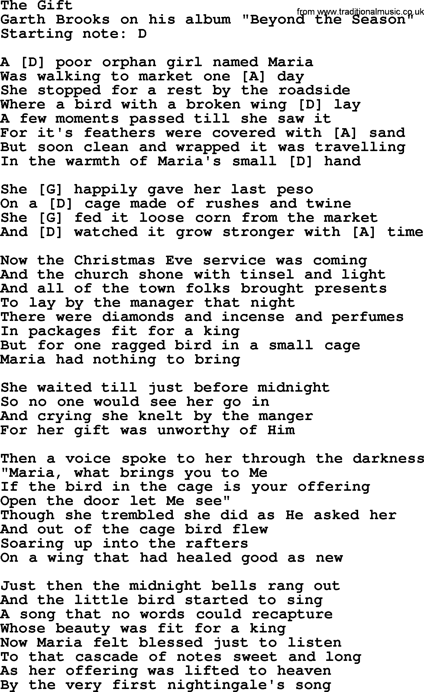 The Gift, by Garth Brooks - lyrics and chords