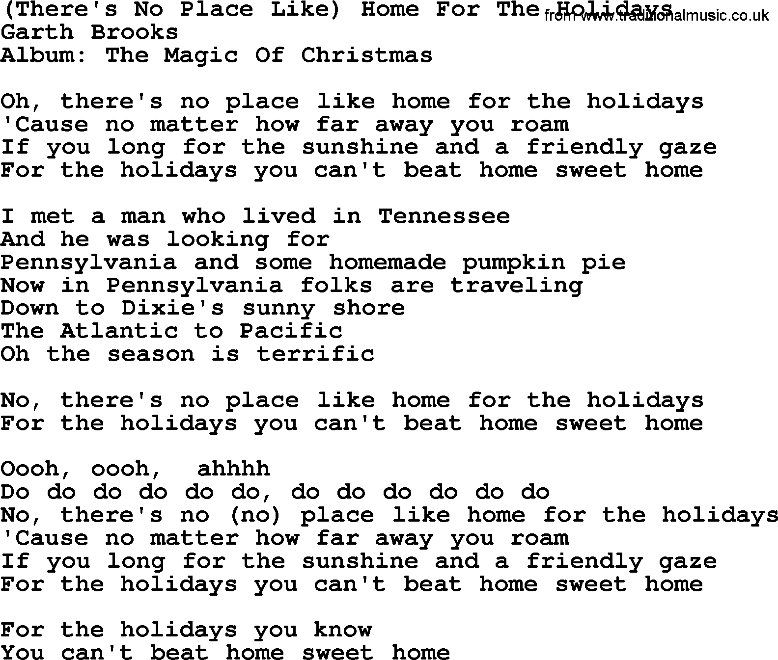 Theres No Place Like Home For The Holidays by Garth Brooks lyrics