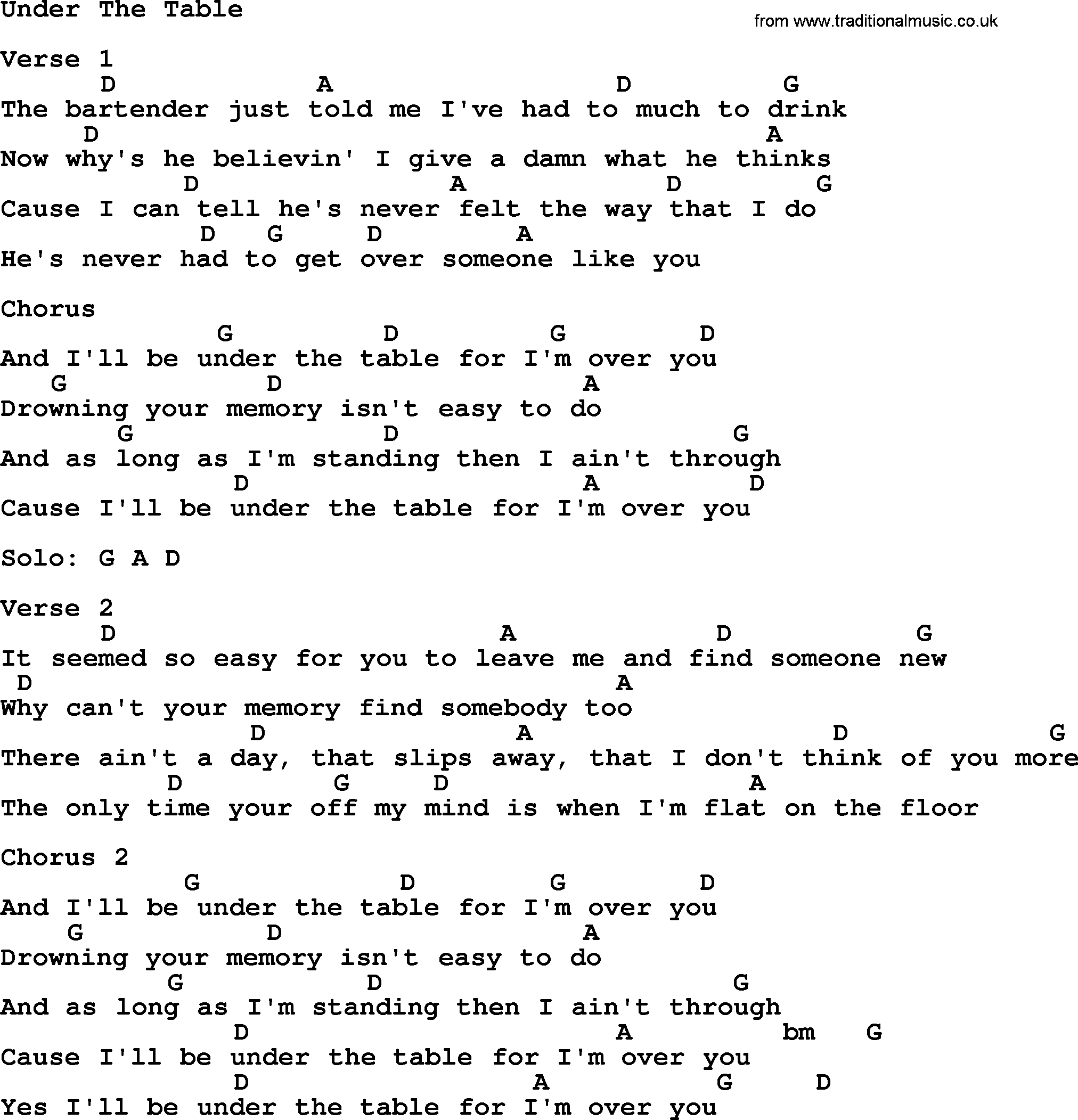 Under The Table, by Garth Brooks - lyrics and chords