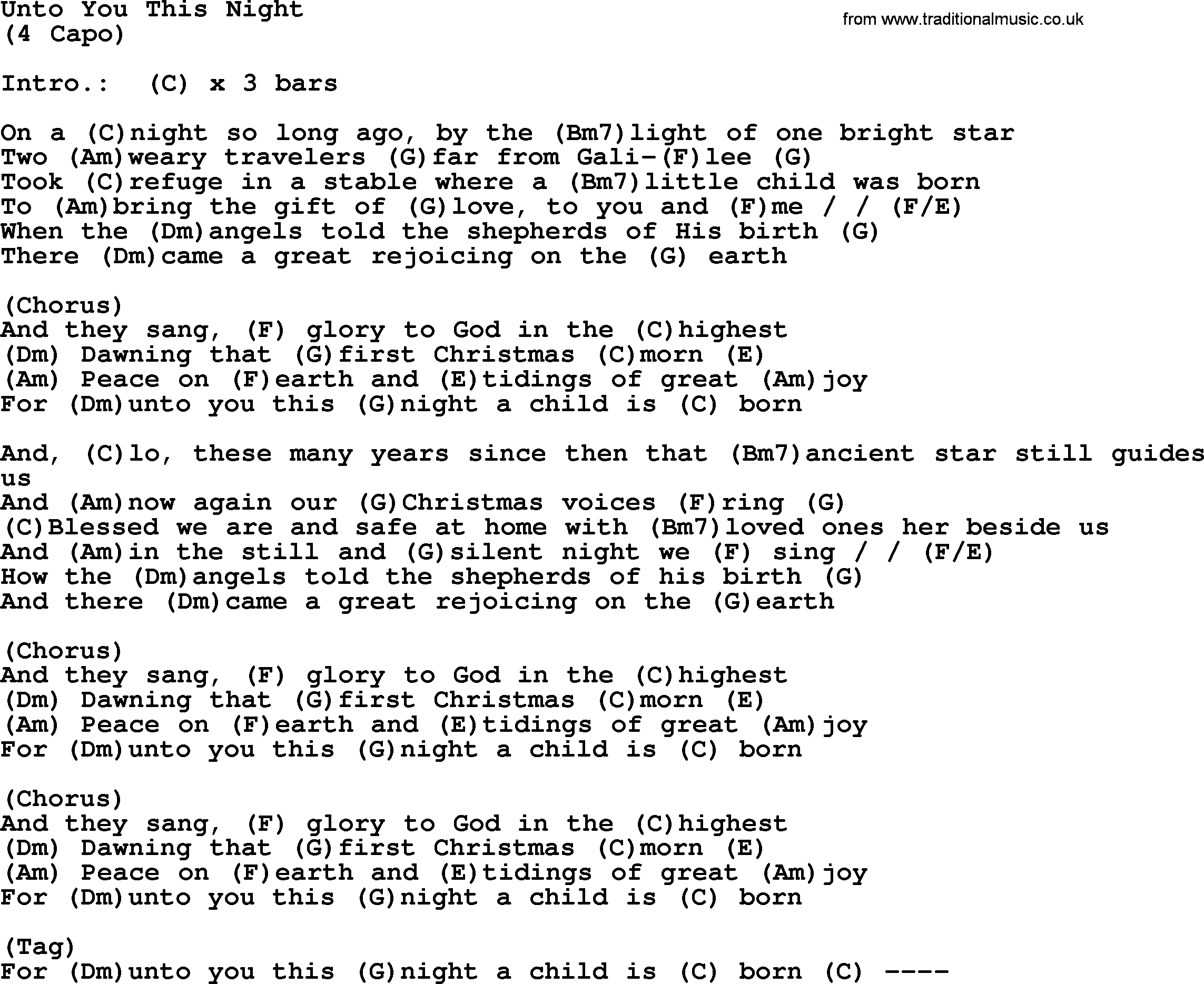 Unto You This Night, by Garth Brooks - lyrics and chords
