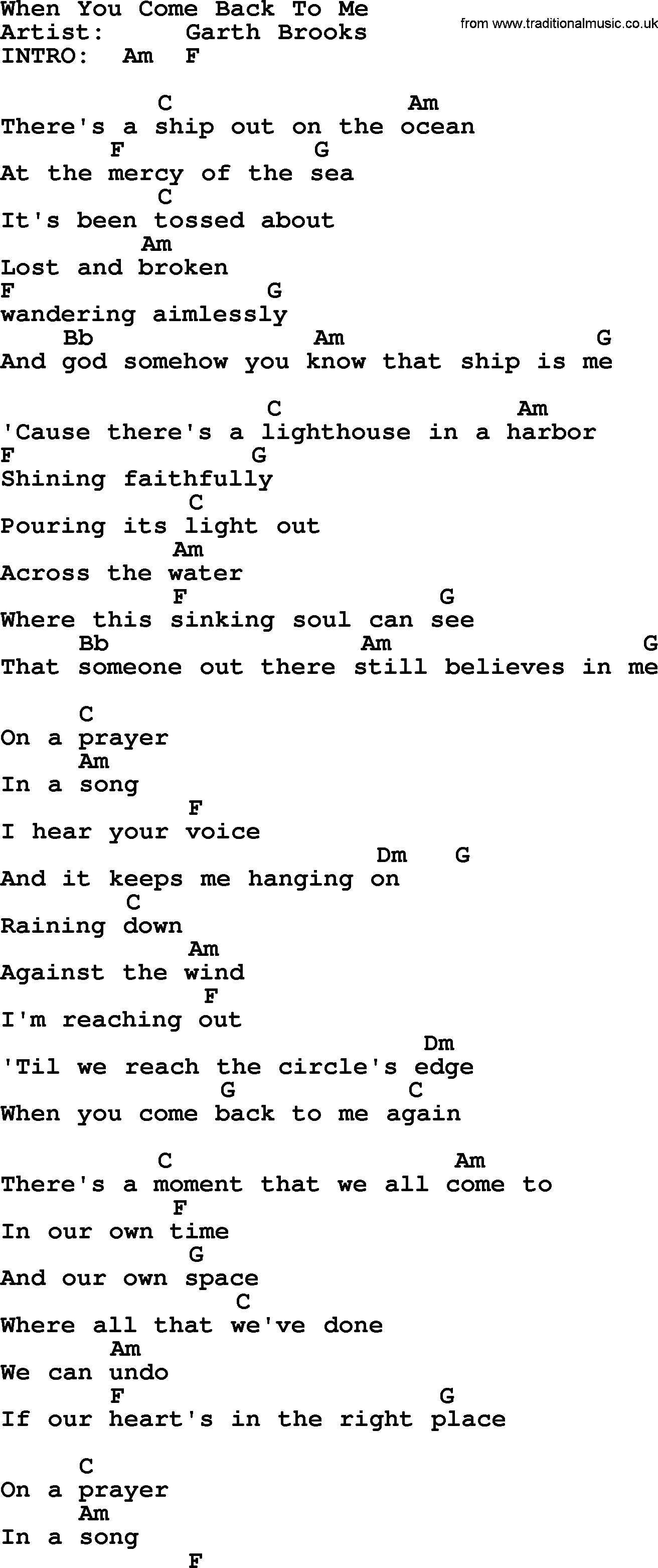 When You Come Back To Me By Garth Brooks Lyrics And Chords
