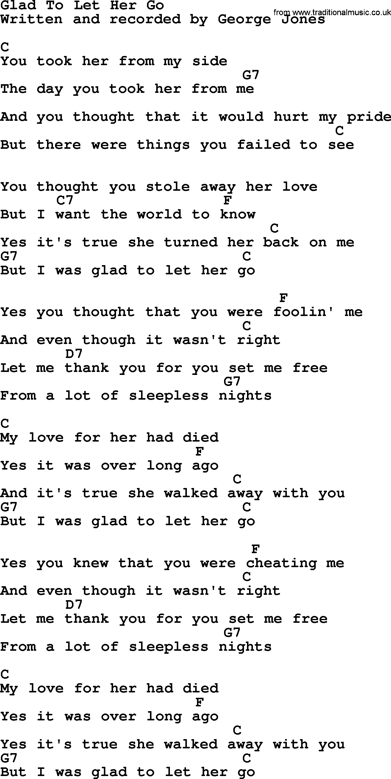 Guitar chords of let her go music sheets chords tablature and glad to let her go by george jones counrty song lyrics and chords hexwebz Images