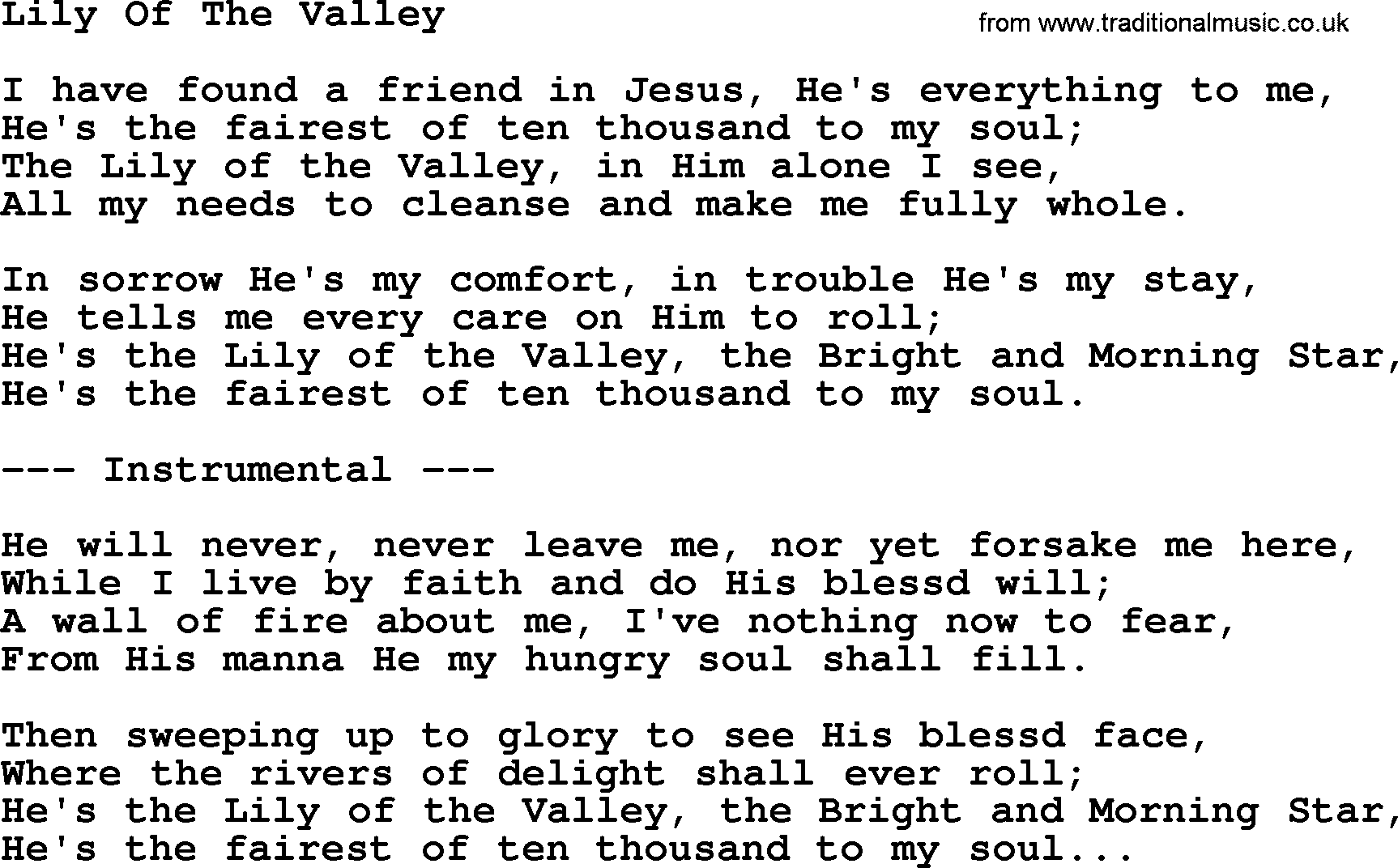 Lily Of The Valley by George Jones - Counrty song lyrics Pictures Of Lily Lyrics