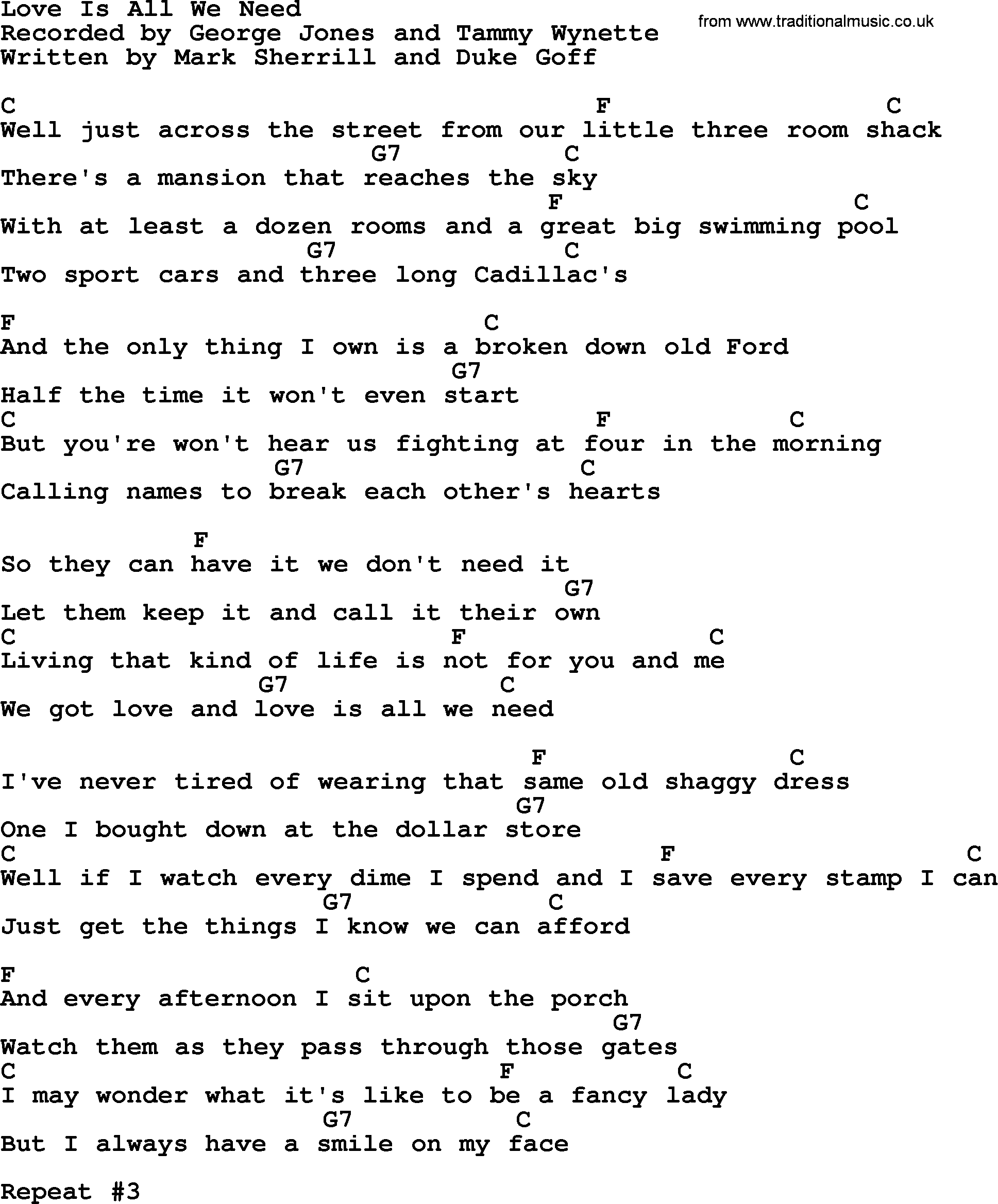 Love Is All We Need by George Jones   Counrty song lyrics and chords