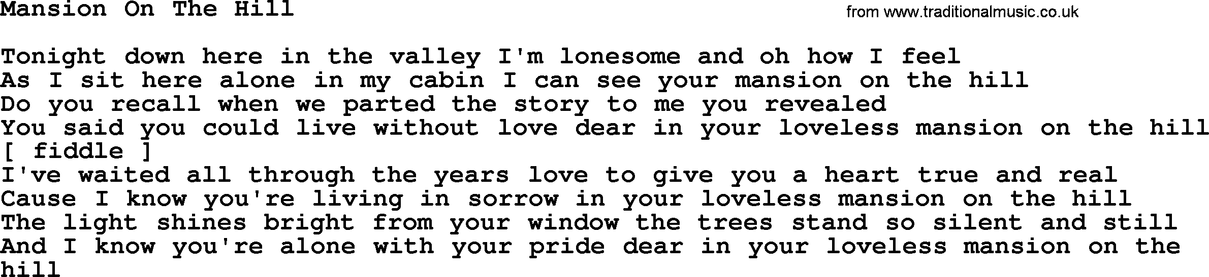 Mansion on the hill lyrics