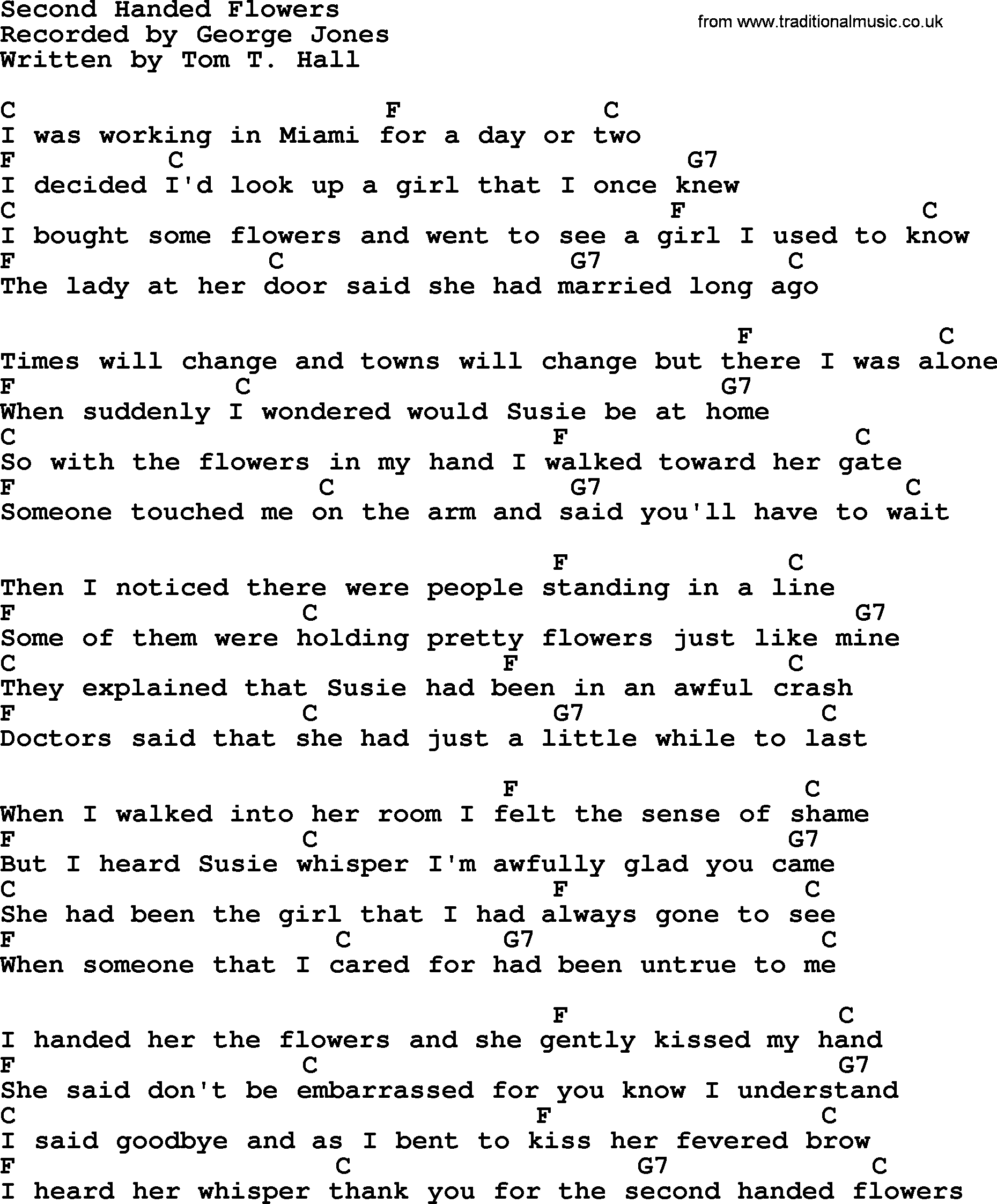 Second Handed Flowers By George Jones Counrty Song Lyrics And Chords