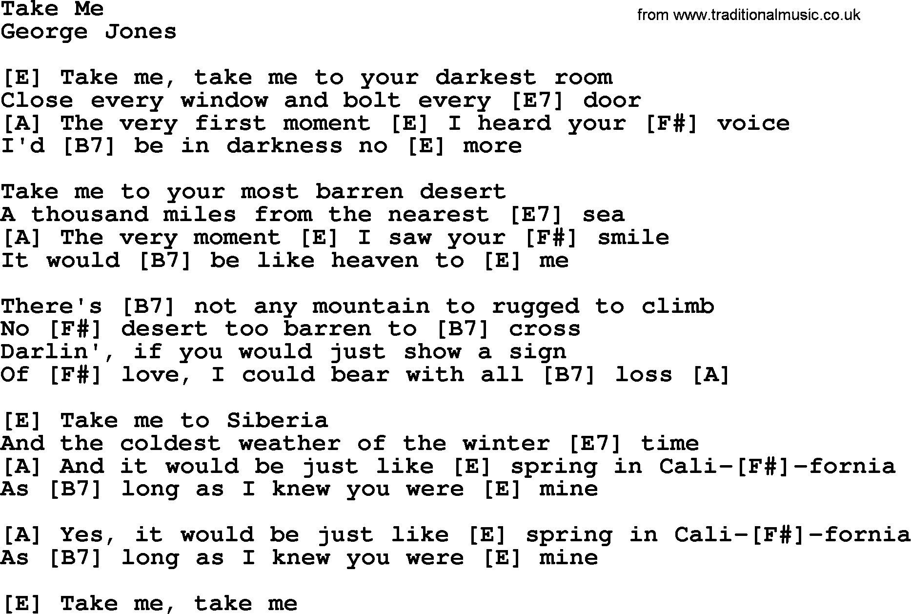 Take me by george jones counrty song lyrics and chords george jones song take me lyrics and chords hexwebz Image collections