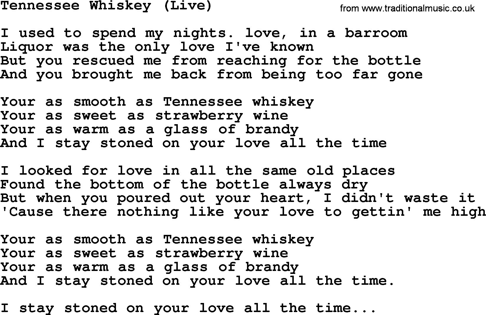 Download tennessee whiskey live as pdf file for printing etc