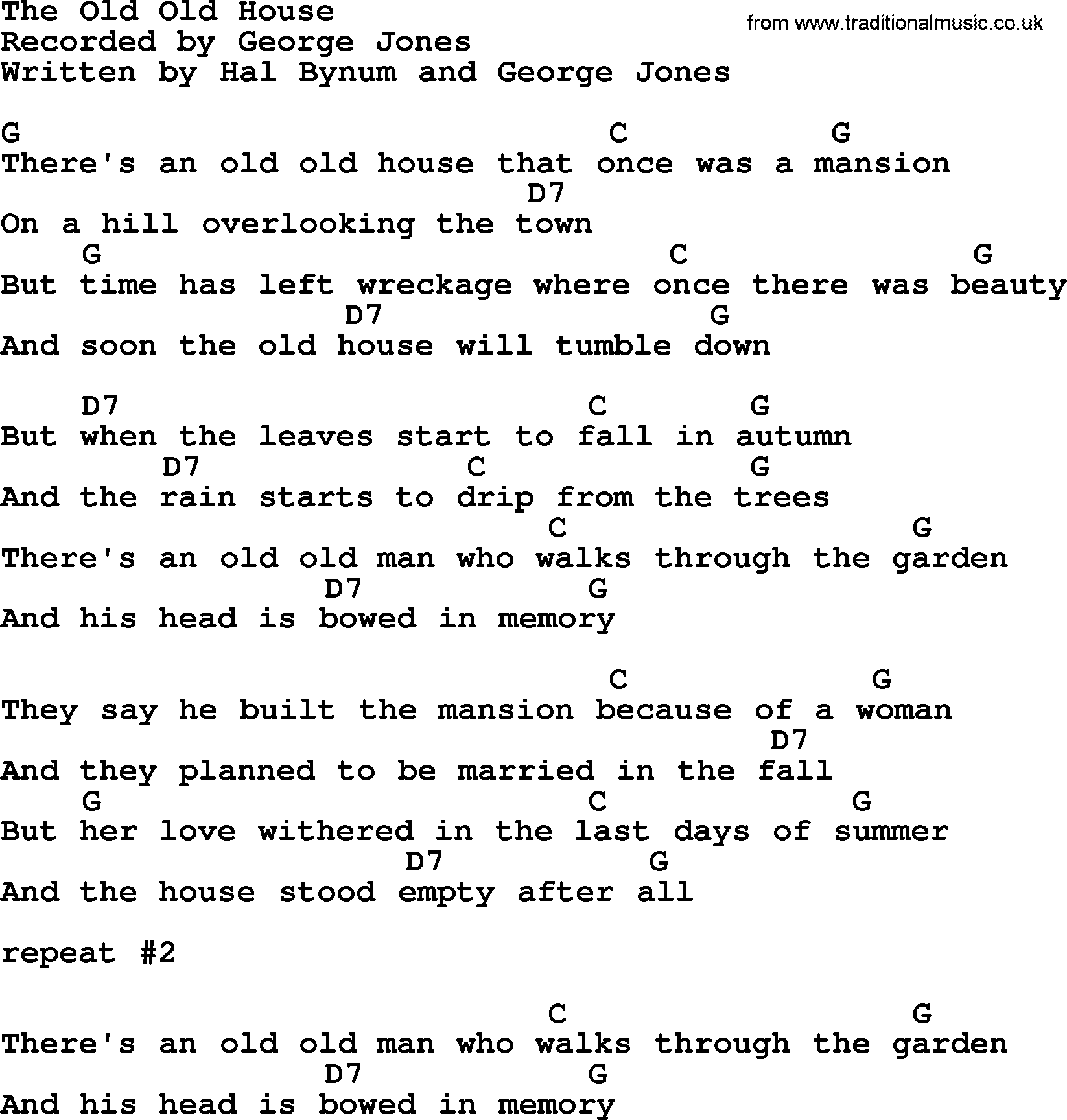 The old old house by george jones counrty song lyrics for Classic house chords