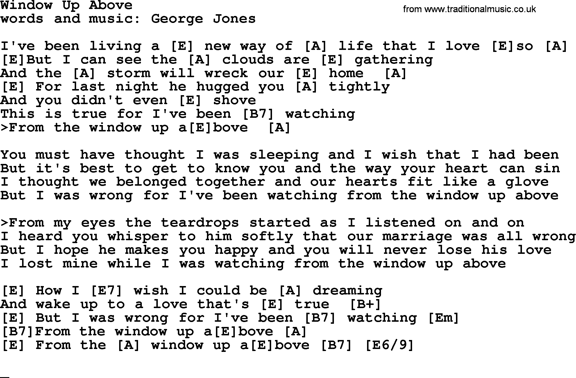 window up above by george jones counrty song lyrics and