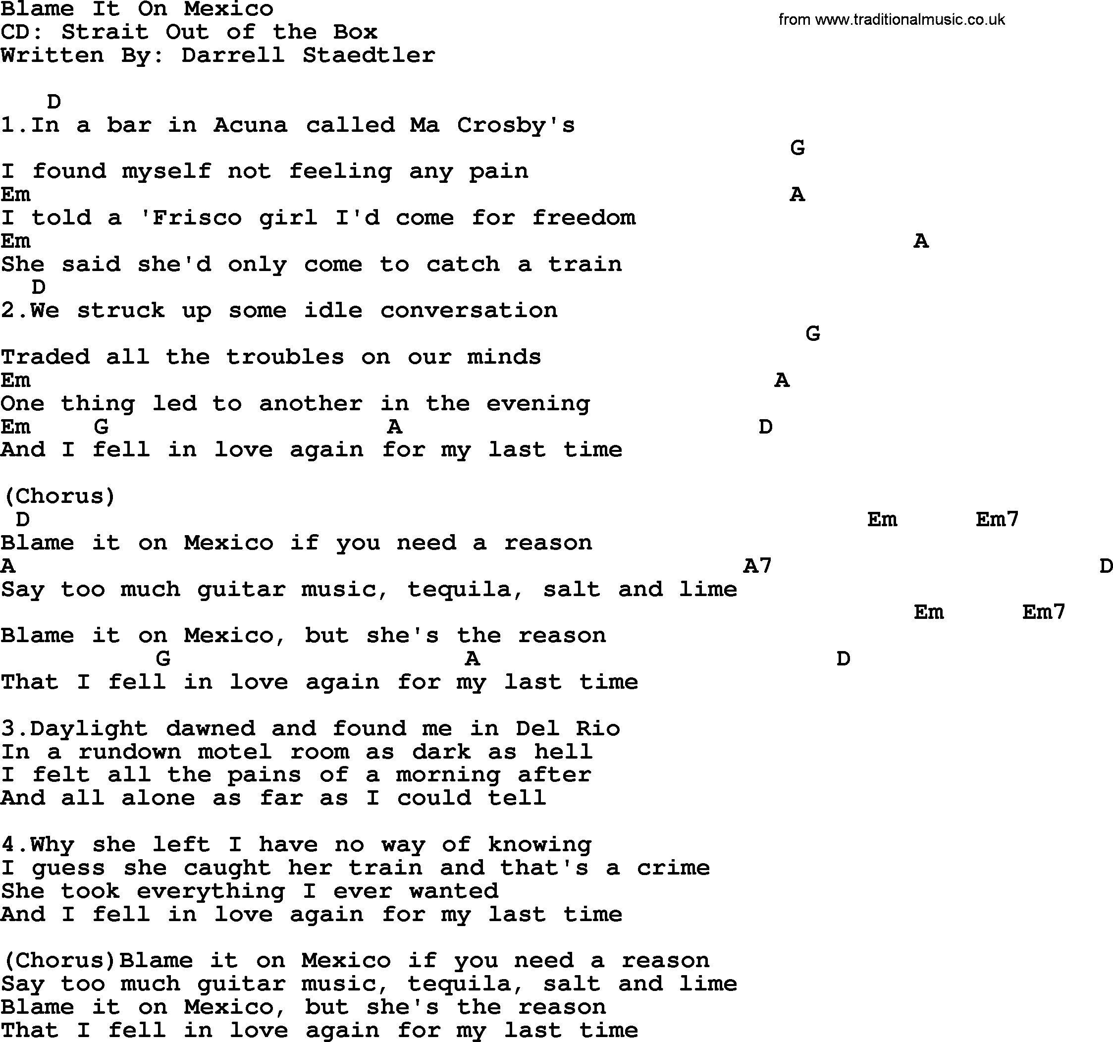 Blame It On Mexico By George Strait Lyrics And Chords