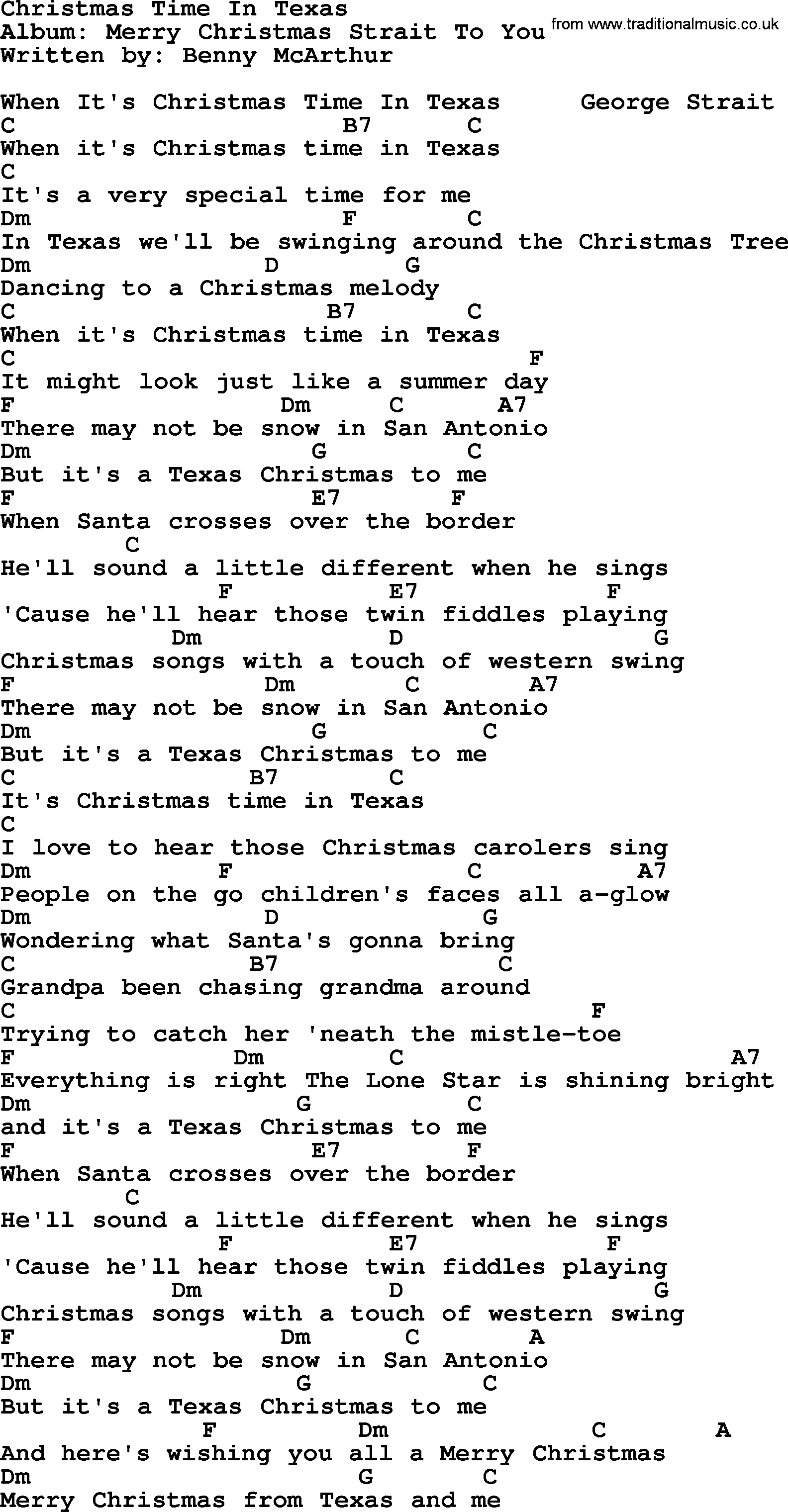 Christmas To Me Lyrics.Christmas Time In Texas By George Strait Lyrics And Chords