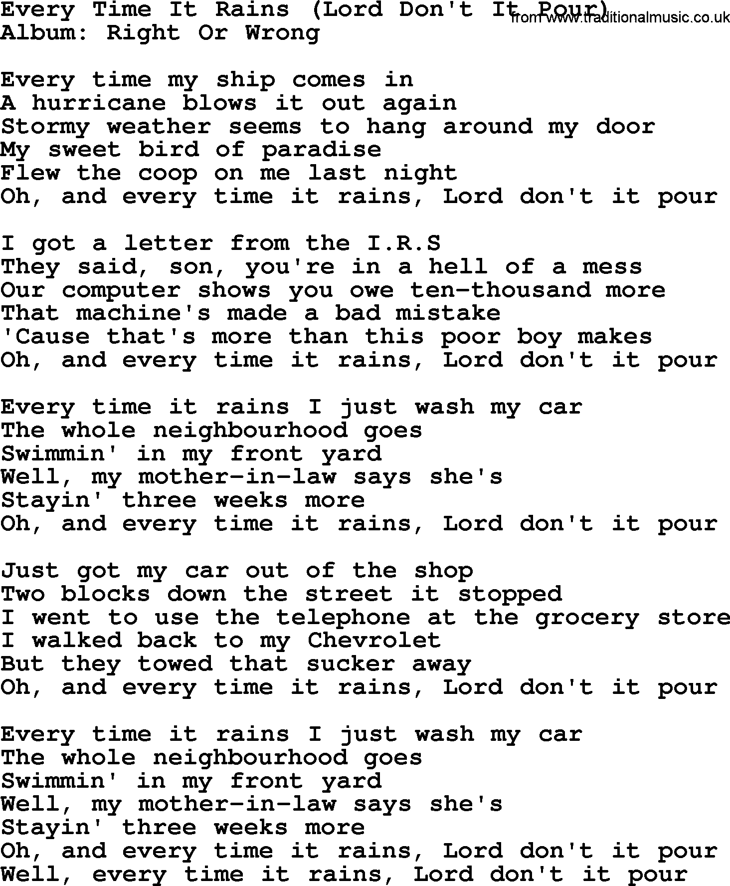 george strait song every time it rains lord dont it pour lyrics