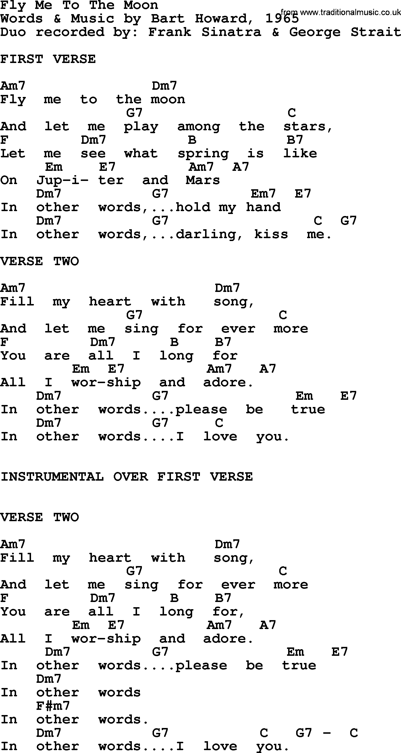 Fly Me To The Moon By George Strait Lyrics And Chords