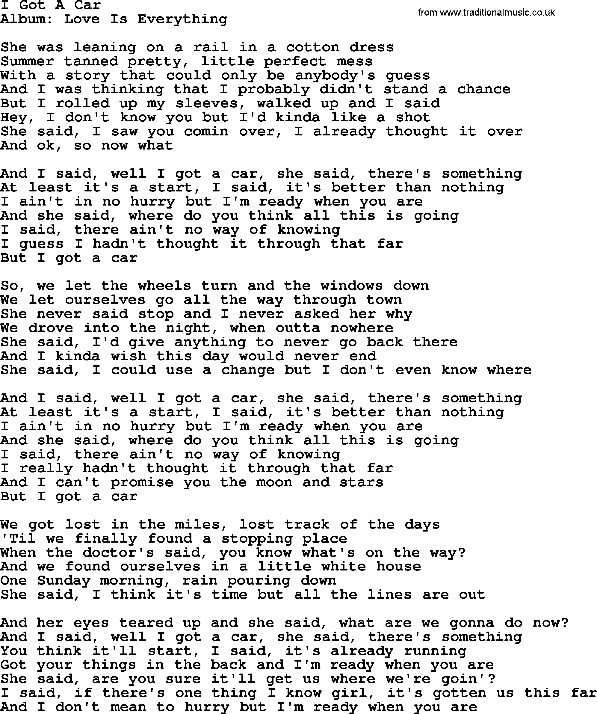 I got a car by george strait lyrics george strait song i got a car lyrics hexwebz Choice Image