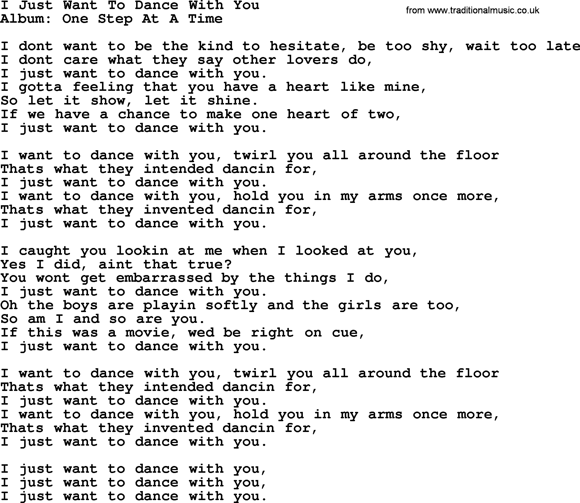 One just wanna be with you two lyrics
