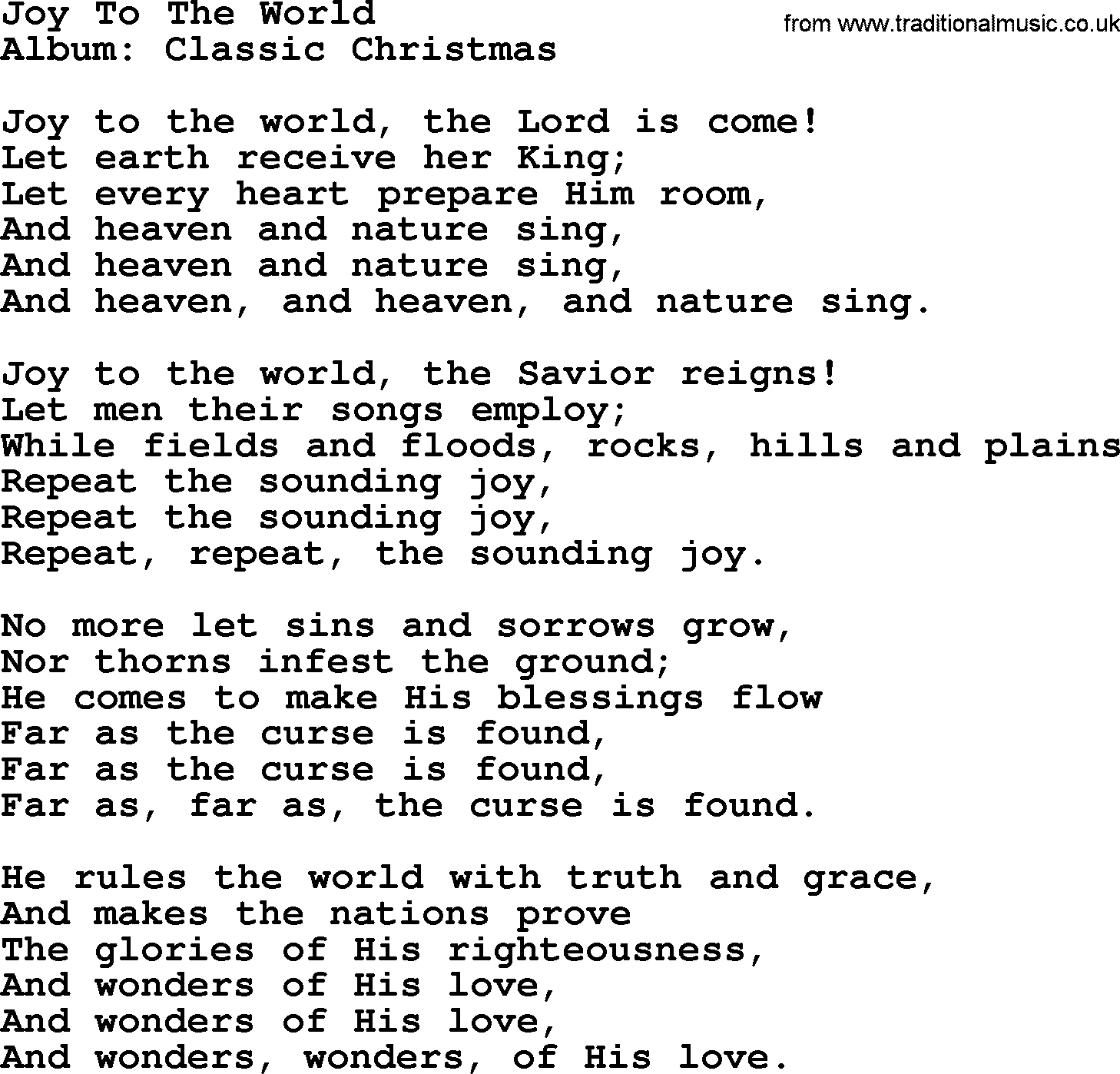 Joy To The World, by George Strait - lyrics