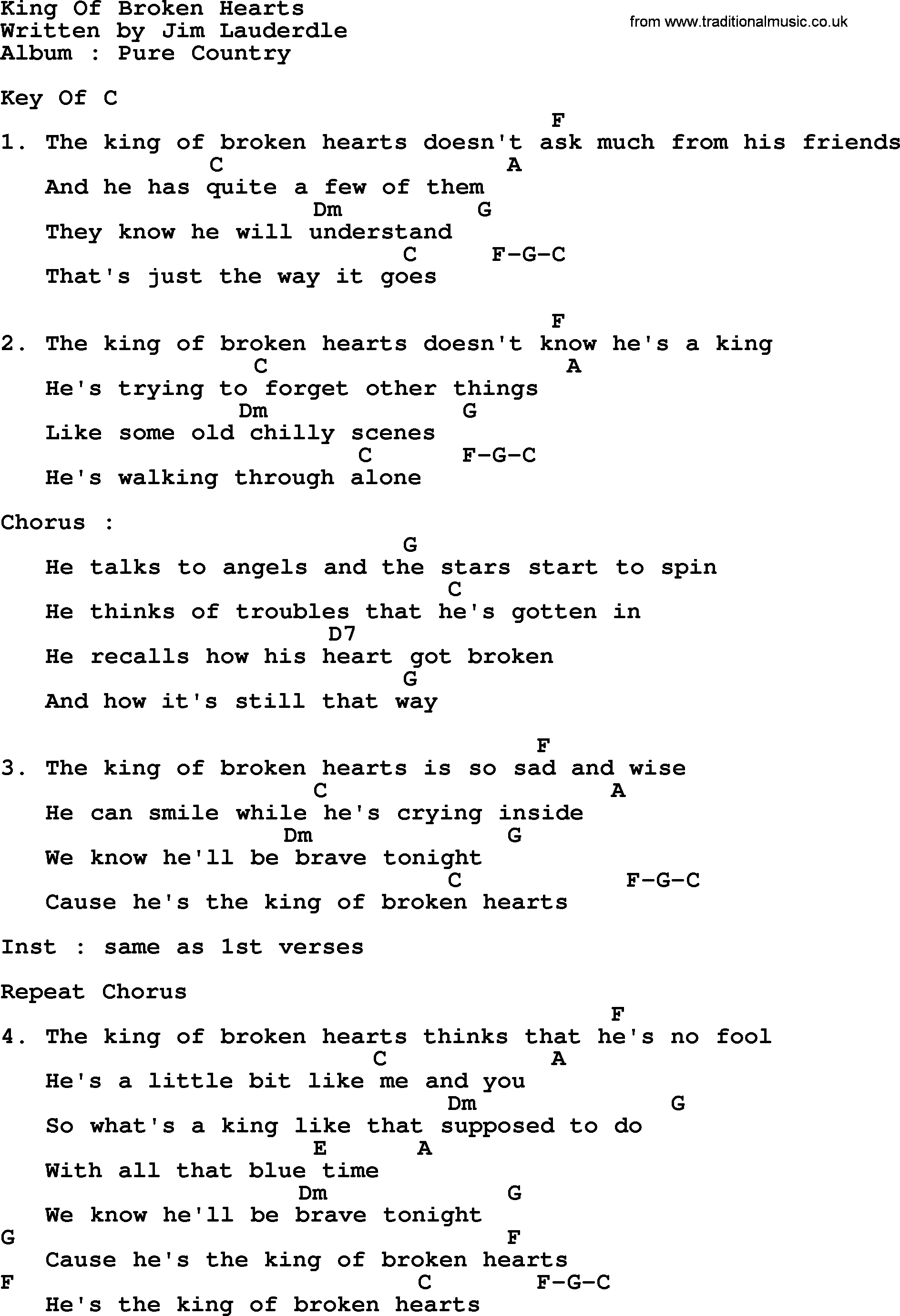 King Of Broken Hearts By George Strait Lyrics And Chords