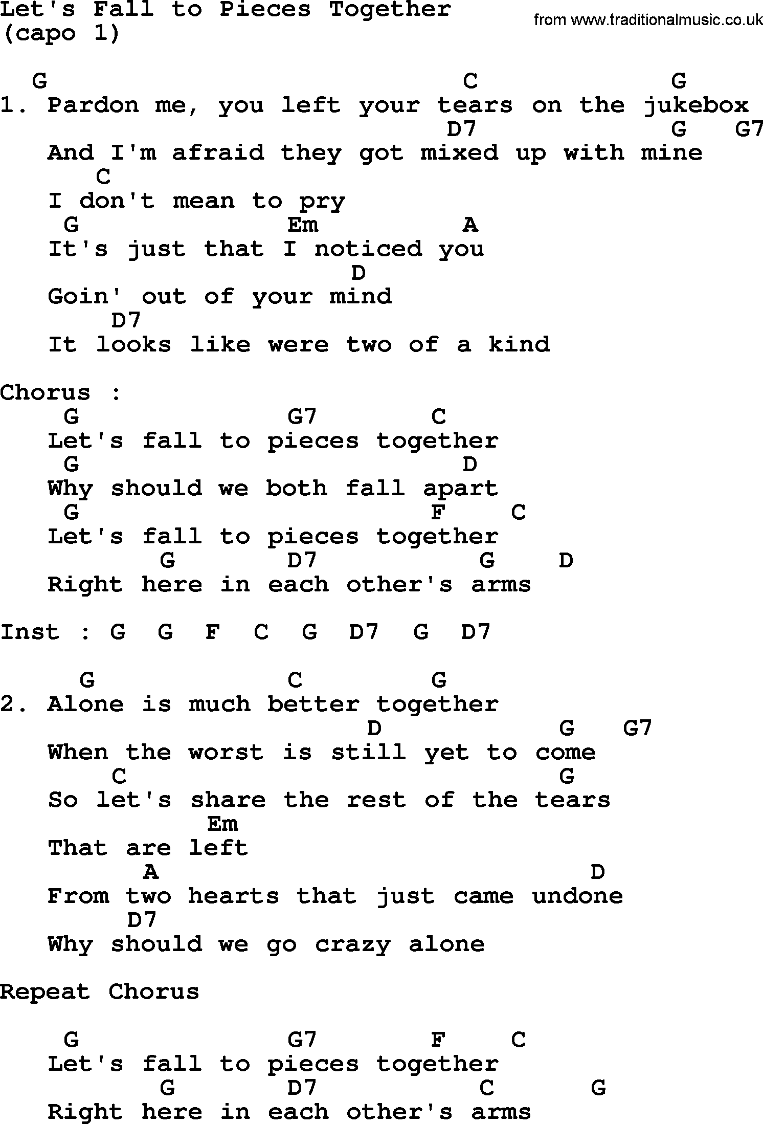 Lets Fall To Pieces Together By George Strait Lyrics And Chords