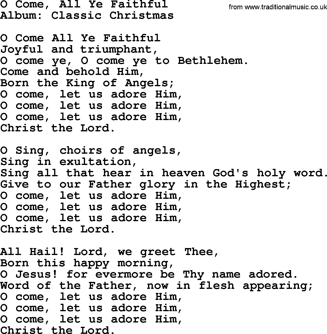 O Come All Ye Faithful By George Strait Lyrics