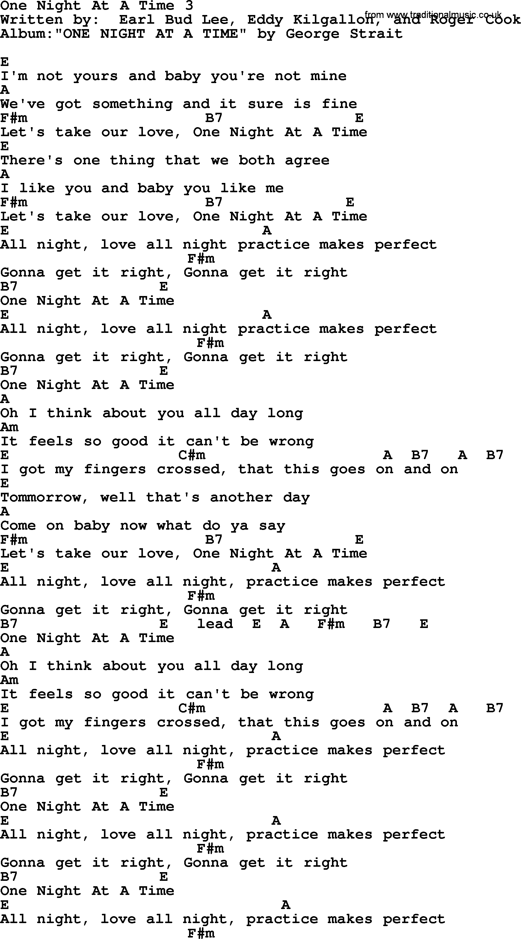 One Night At A Time 3 By George Strait Lyrics And Chords