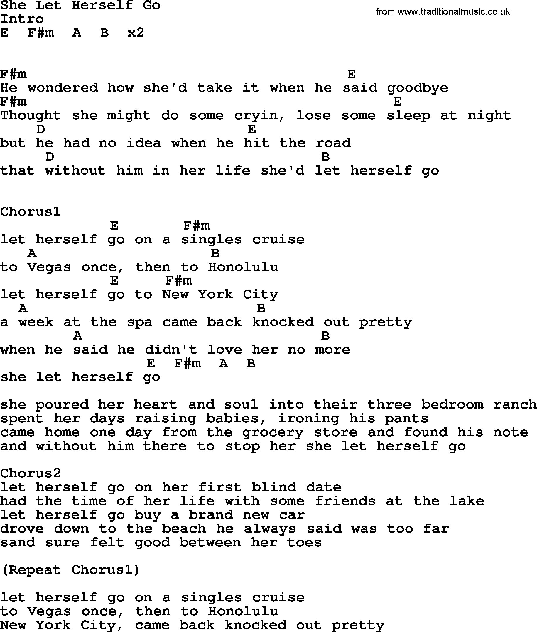 She Let Herself Go By George Strait Lyrics And Chords