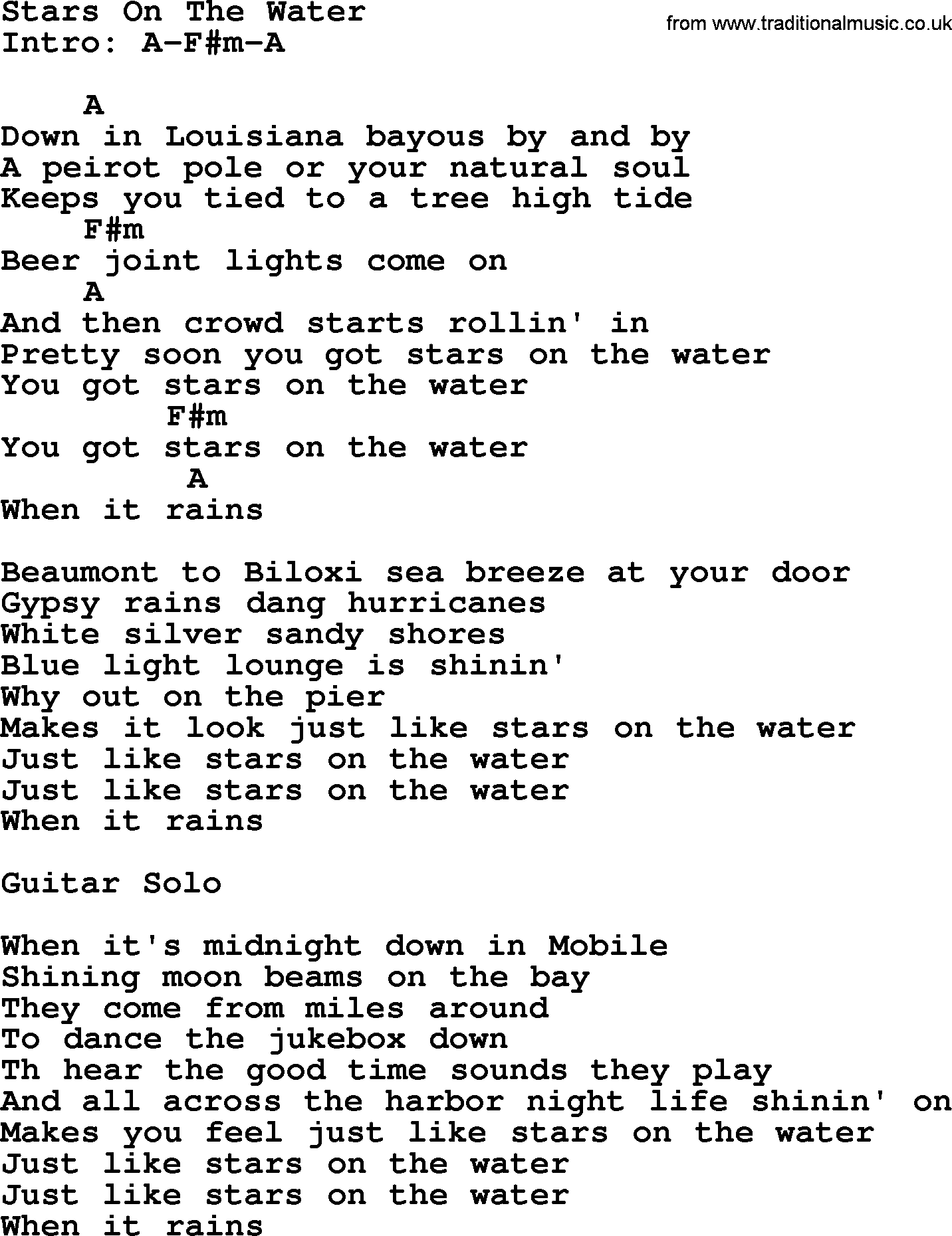Stars on the water by george strait lyrics and chords george strait song stars on the water lyrics and chords hexwebz Gallery
