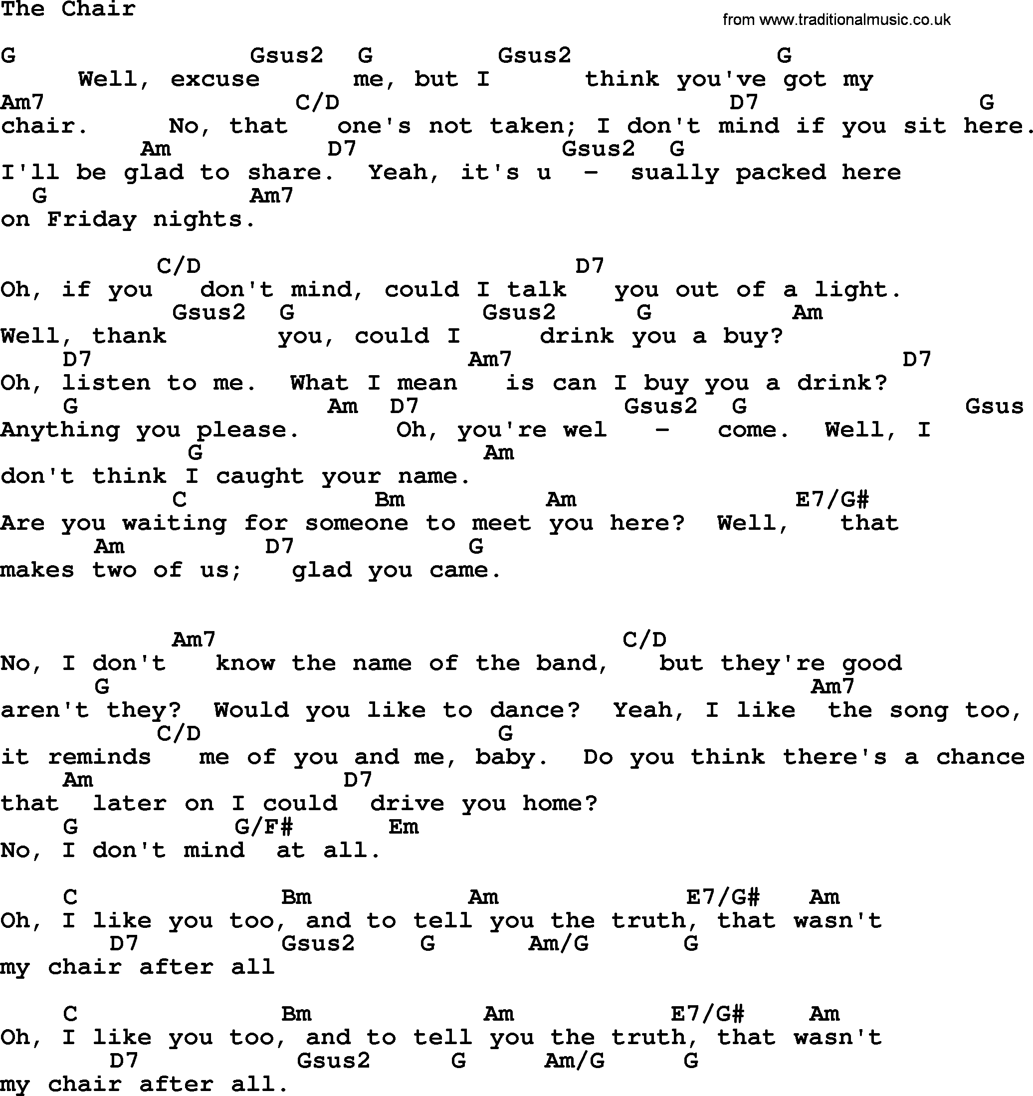The Chair By George Strait Lyrics And Chords