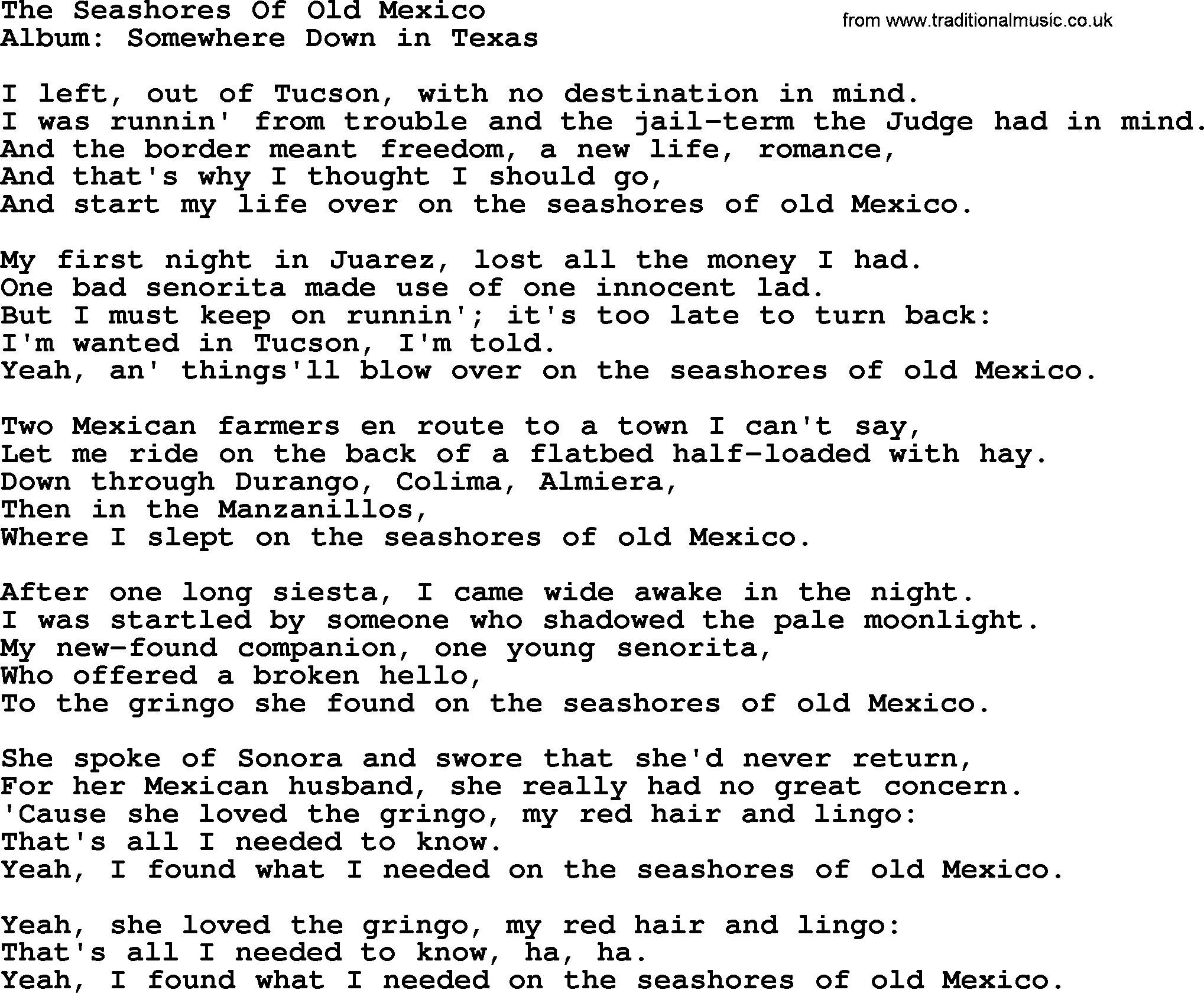 The Seashores Of Old Mexico, by George Strait - lyrics