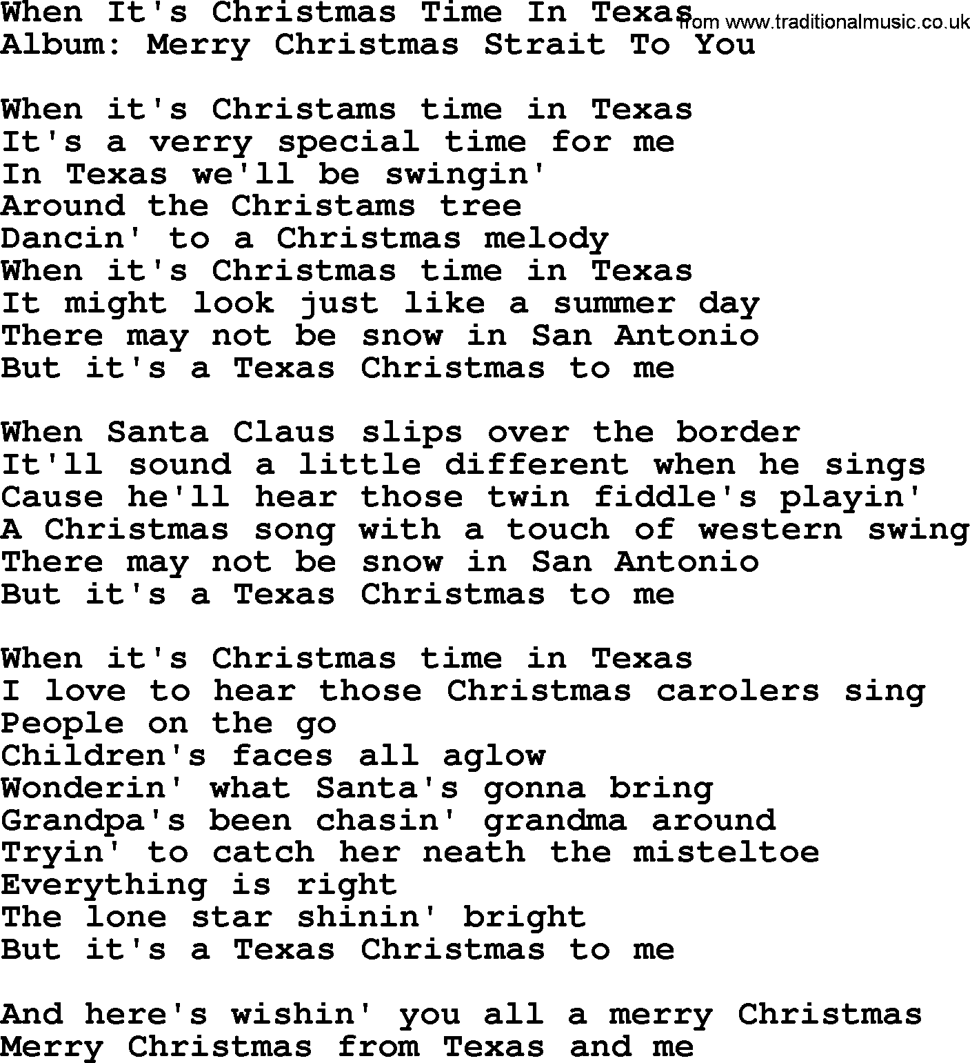Christmas To Me Lyrics.When It S Christmas Time In Texas By George Strait Lyrics