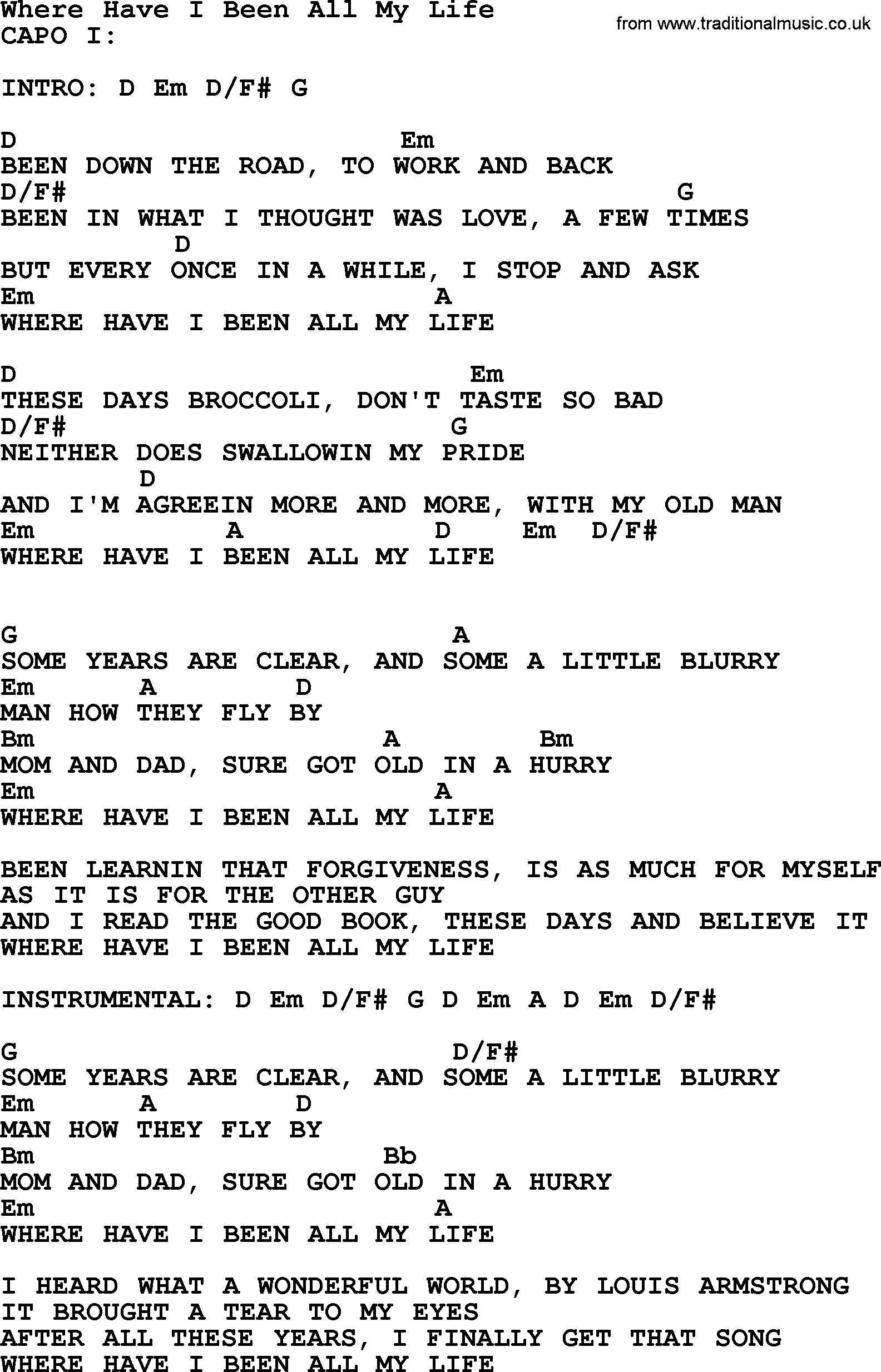 Where Have I Been All My Life By George Strait Lyrics And Chords